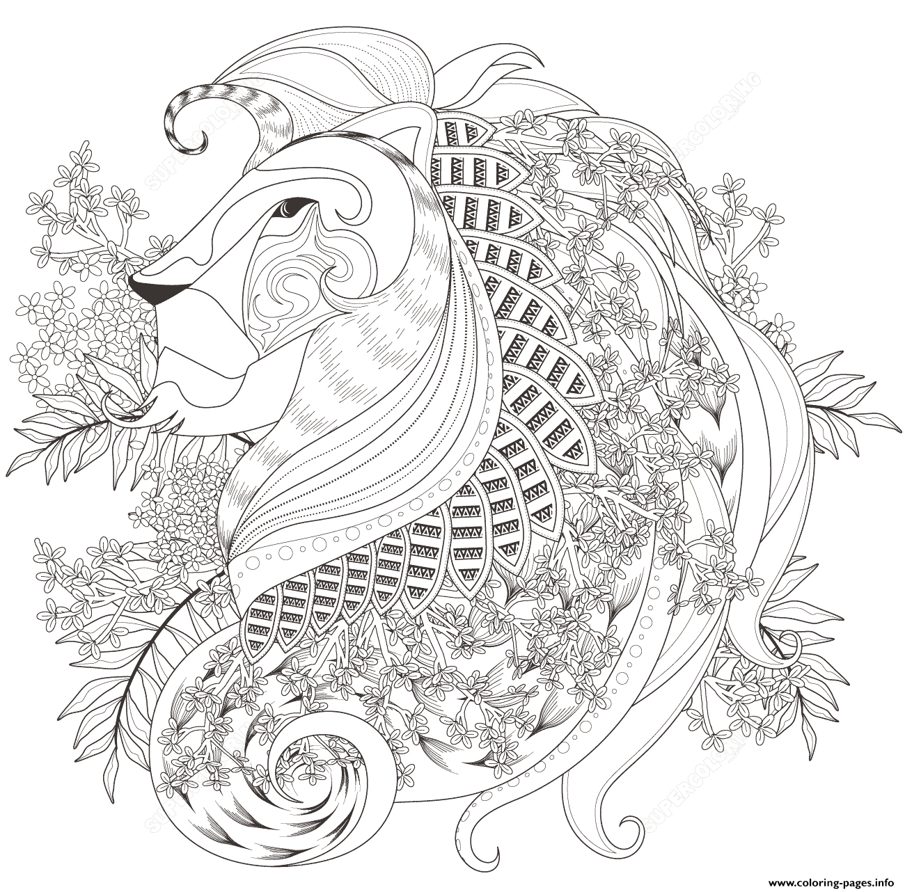 Zentagle Lion With Floral Elements Adults Coloring Pages