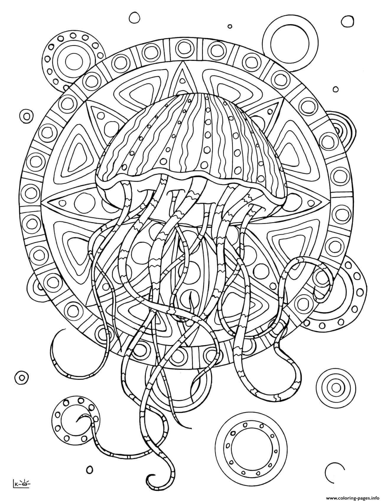 Kleurplaat Frozen Pdf Jellyfish With Tribal Pattern Adults Coloring Pages Printable