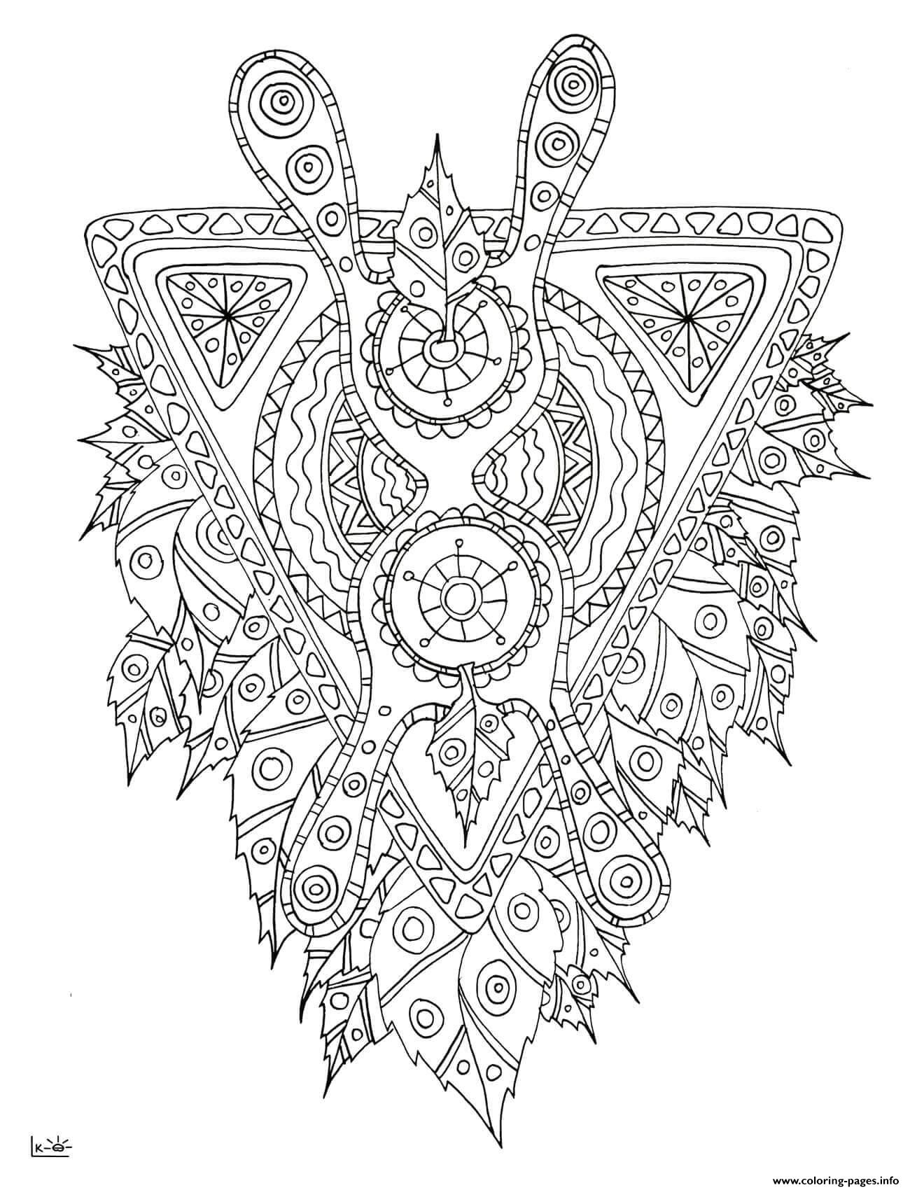 Mythical creature with tribal pattern adults coloring for Mythical coloring pages for adults