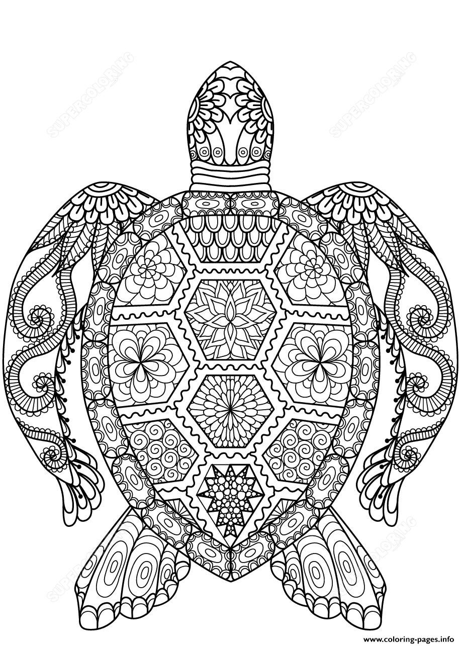 Turtle Zentangle Adults coloring pages