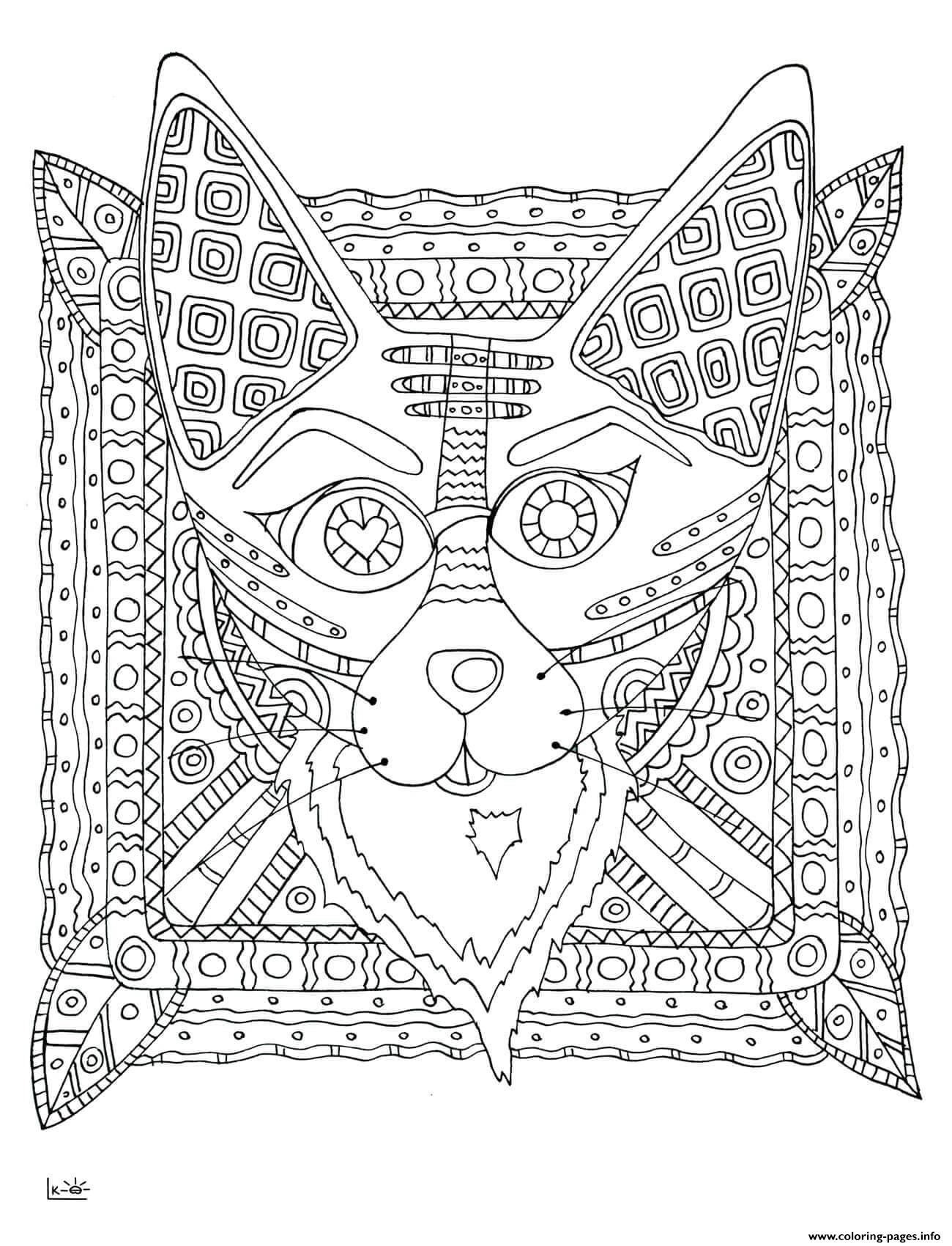 Fox with tribal pattern adults coloring pages printable for Tribal pattern coloring pages