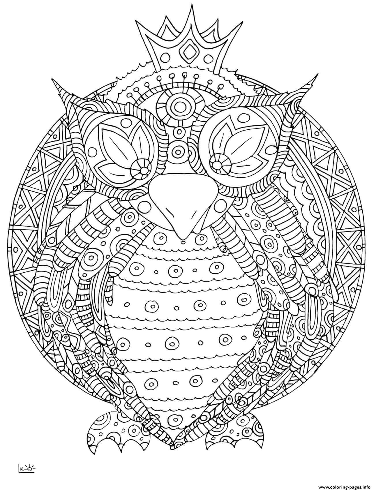 Owl with tribal pattern adults coloring pages printable for Tribal pattern coloring pages