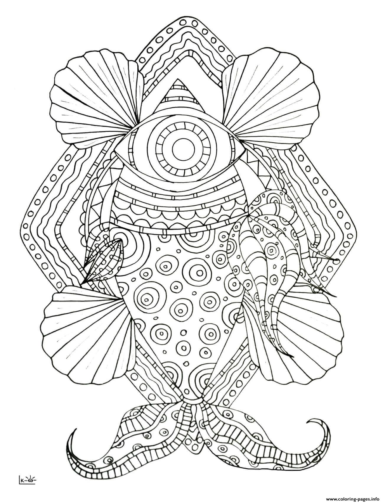 fish with tribal pattern adults coloring pages printable