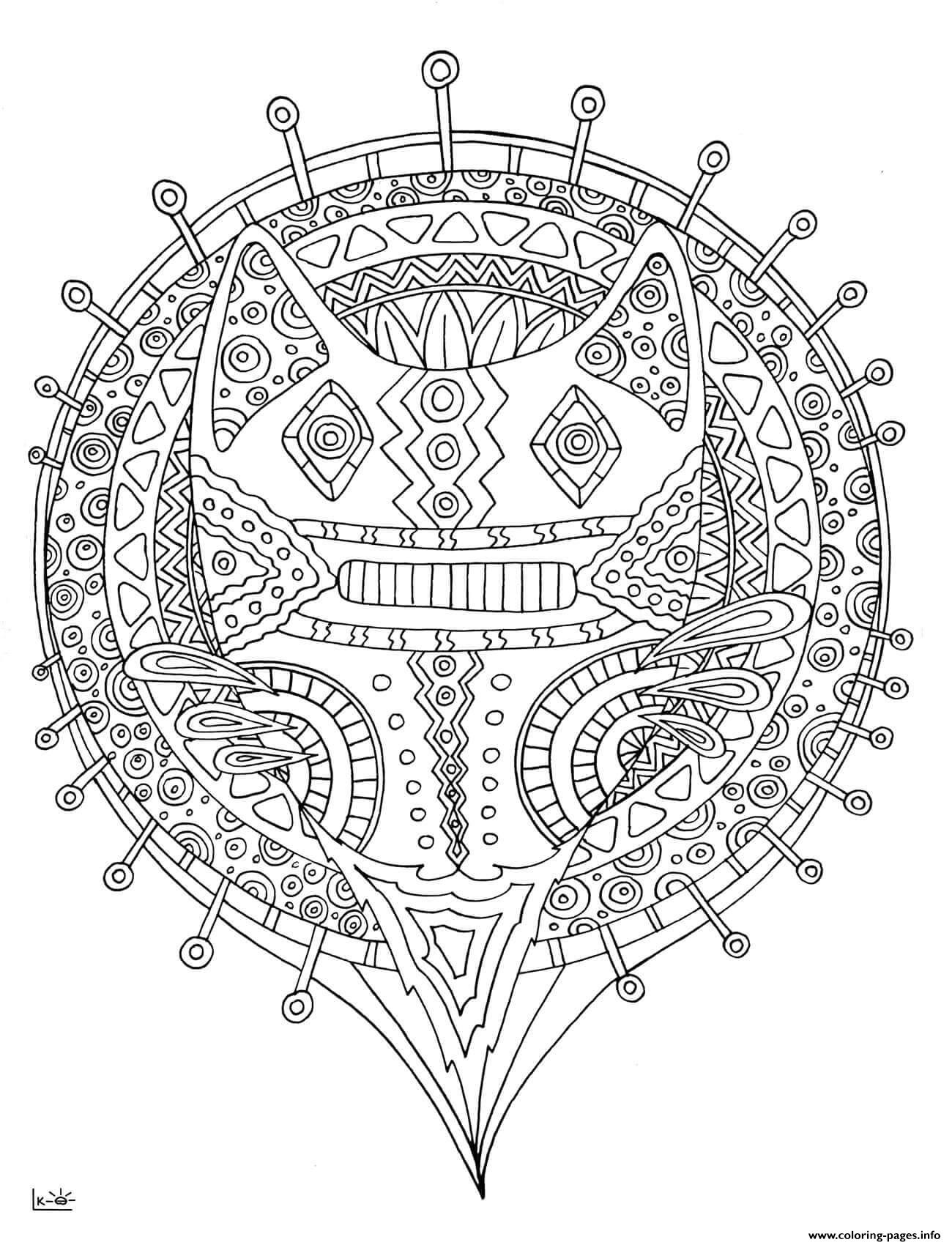 Forest Cat With Tribal Pattern Adults Coloring Pages Printable