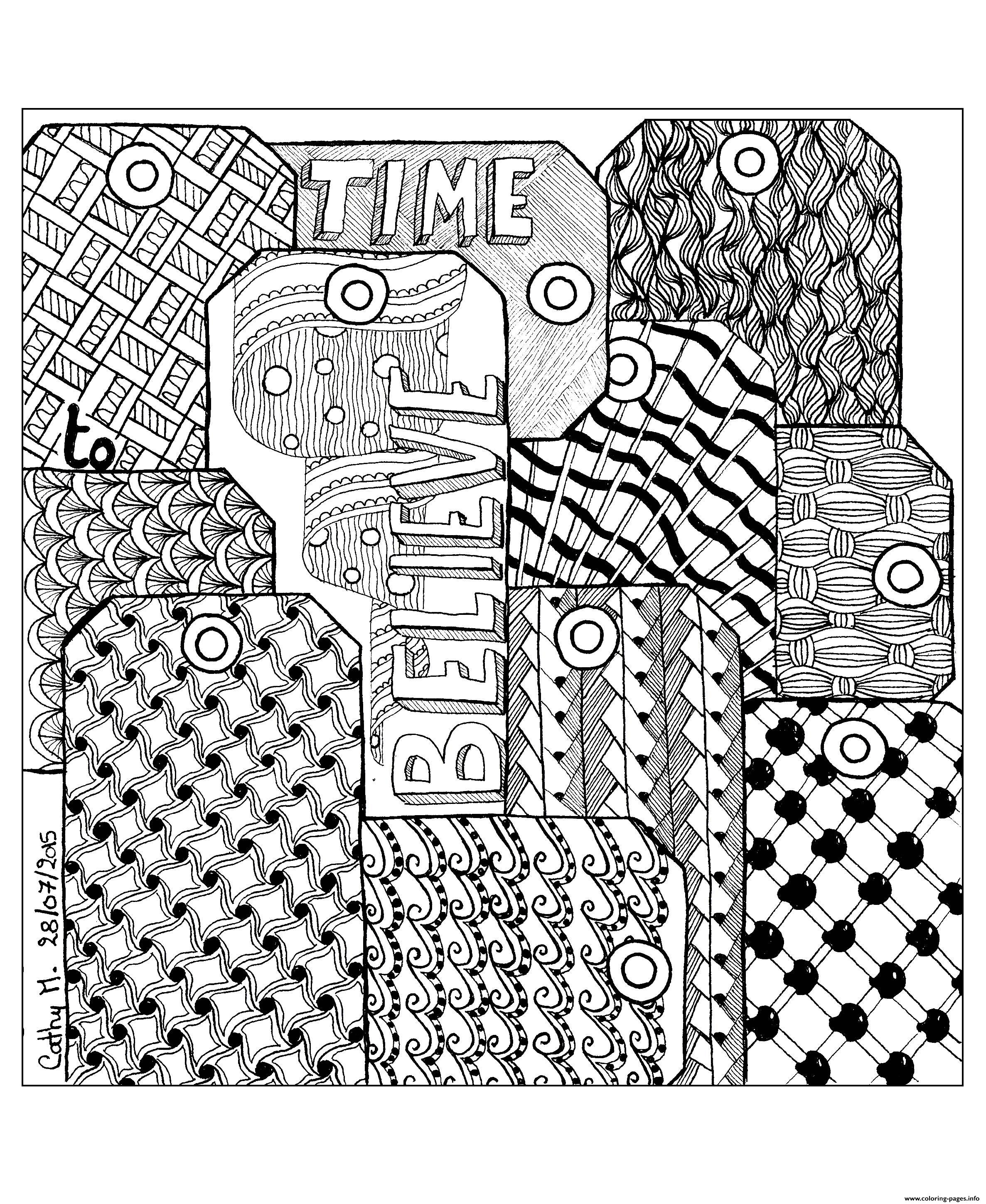 Adult Zentangle By Cathym 7 coloring pages