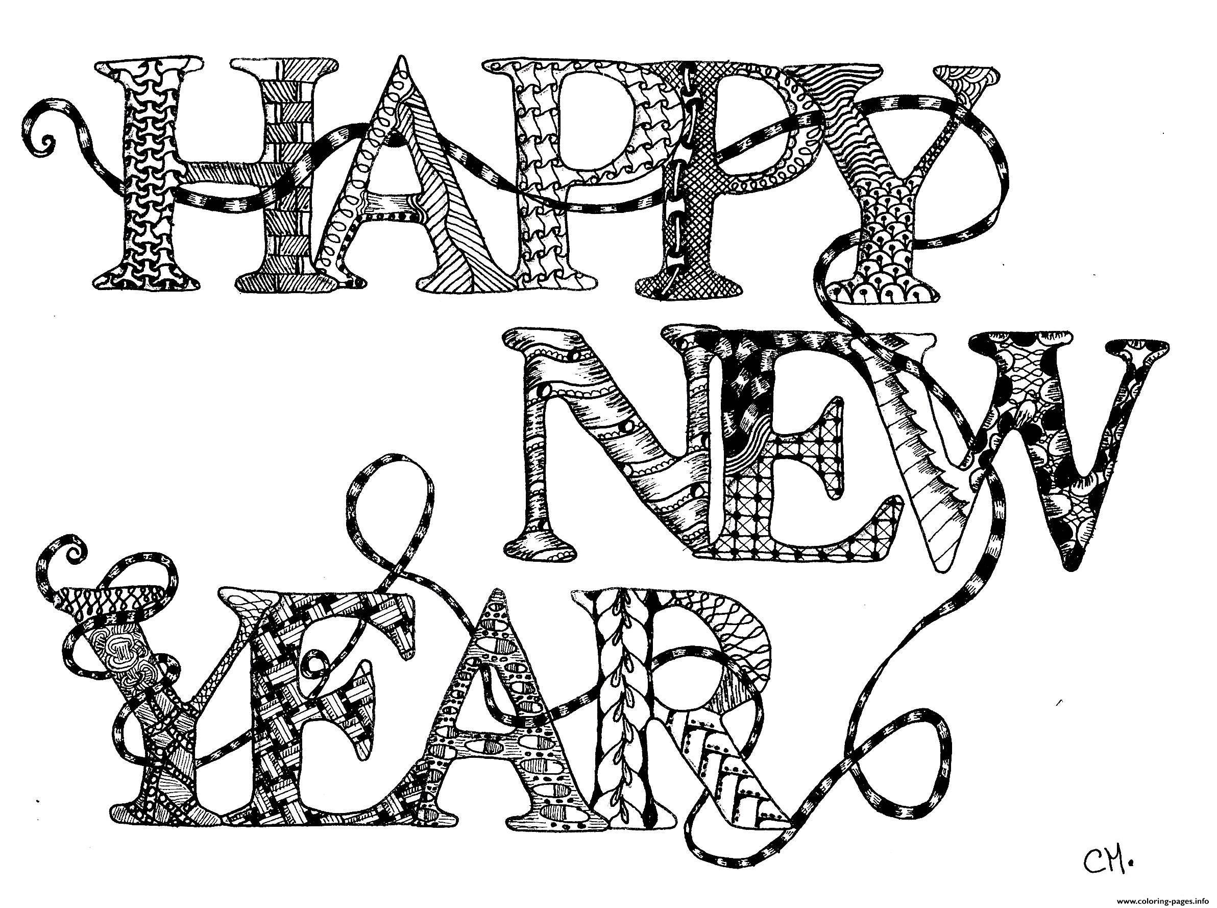Adult Zentangle Happy New Year By Cathym coloring pages