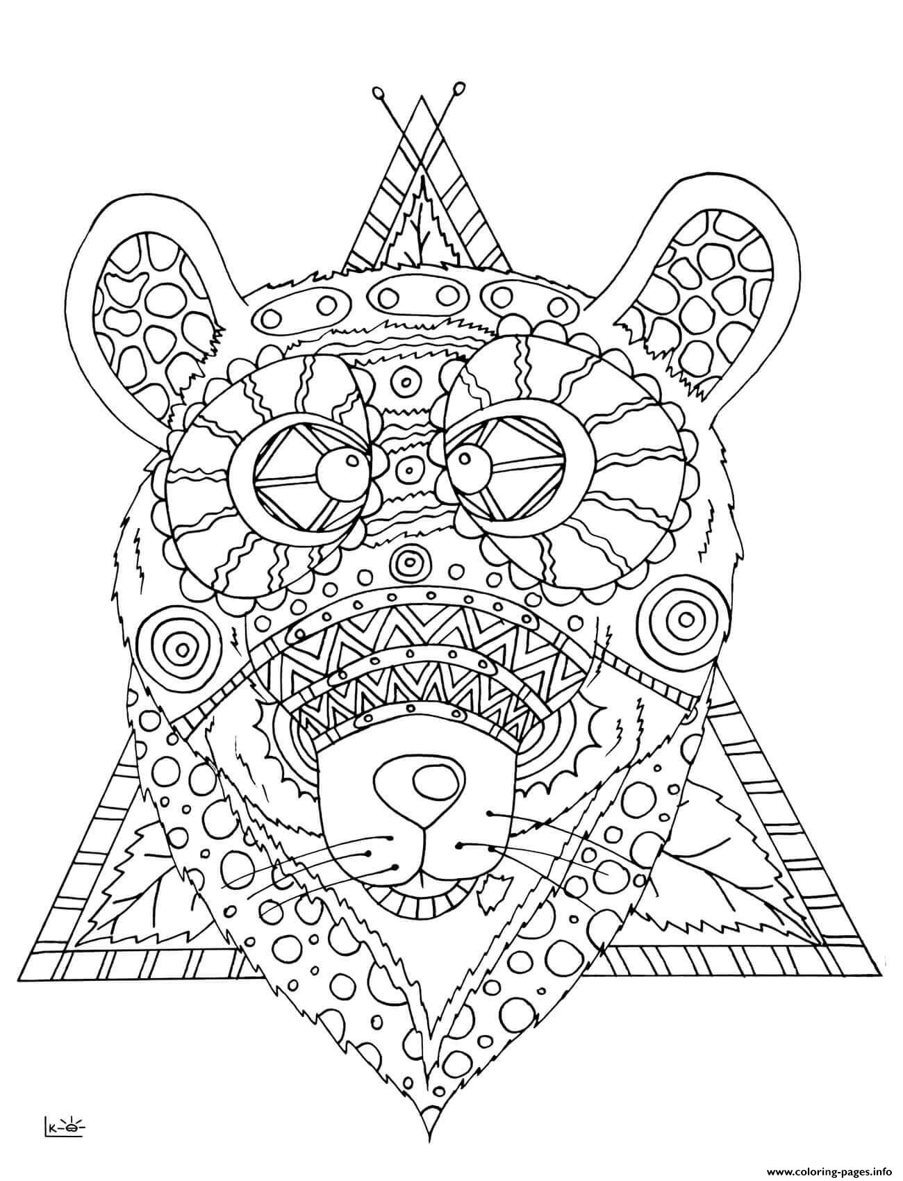 Bear With Tribal Pattern Adults coloring pages