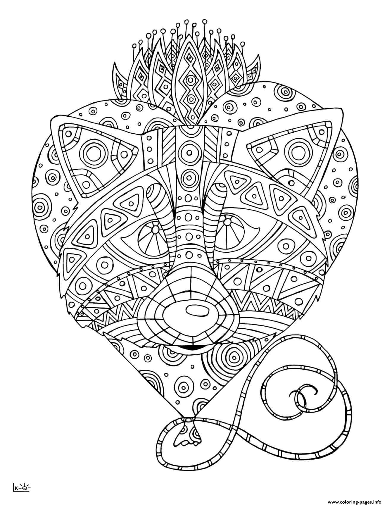 Tribal Coloring Pages Raccoon With Tribal Pattern Adults Coloring Pages Printable
