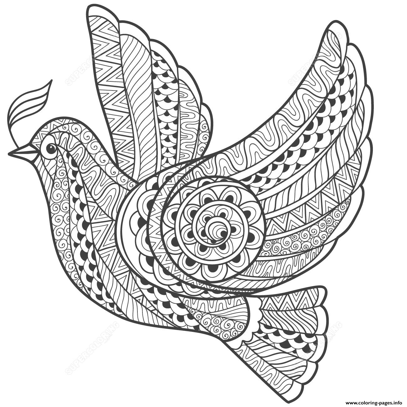 Zentangle Dove Of Peace Adults coloring pages