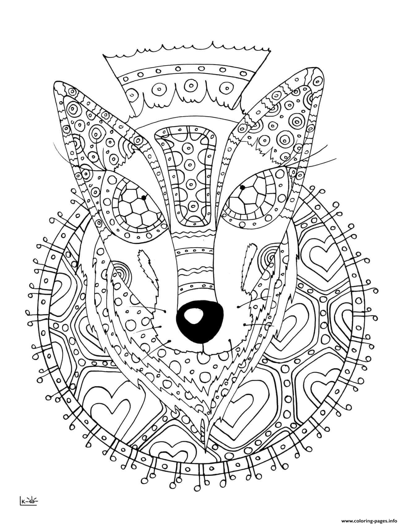 Wolf With Tribal Pattern Adults Coloring Pages