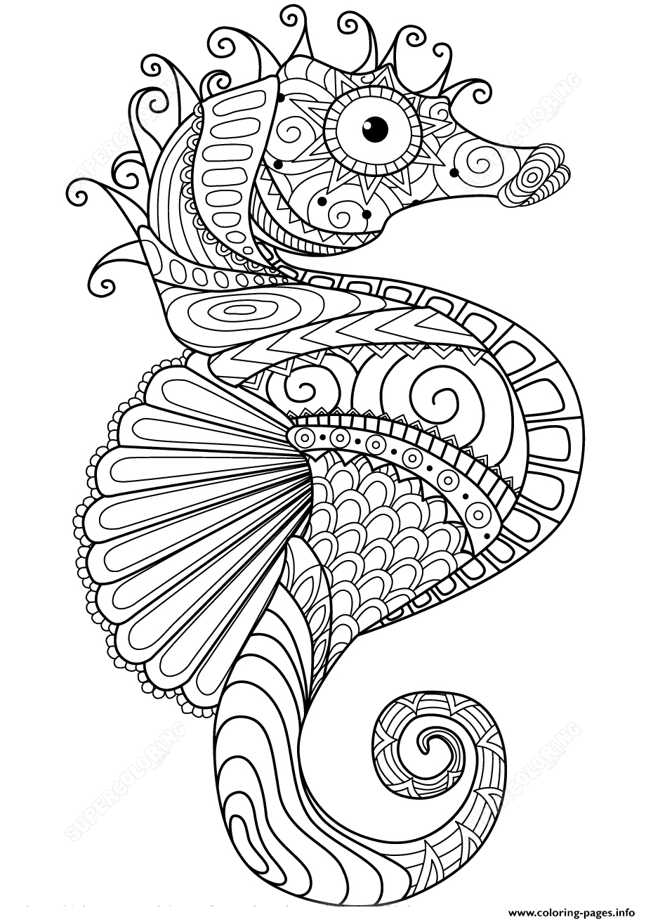 Sea Horse Zentangle Adults Coloring Pages Printable