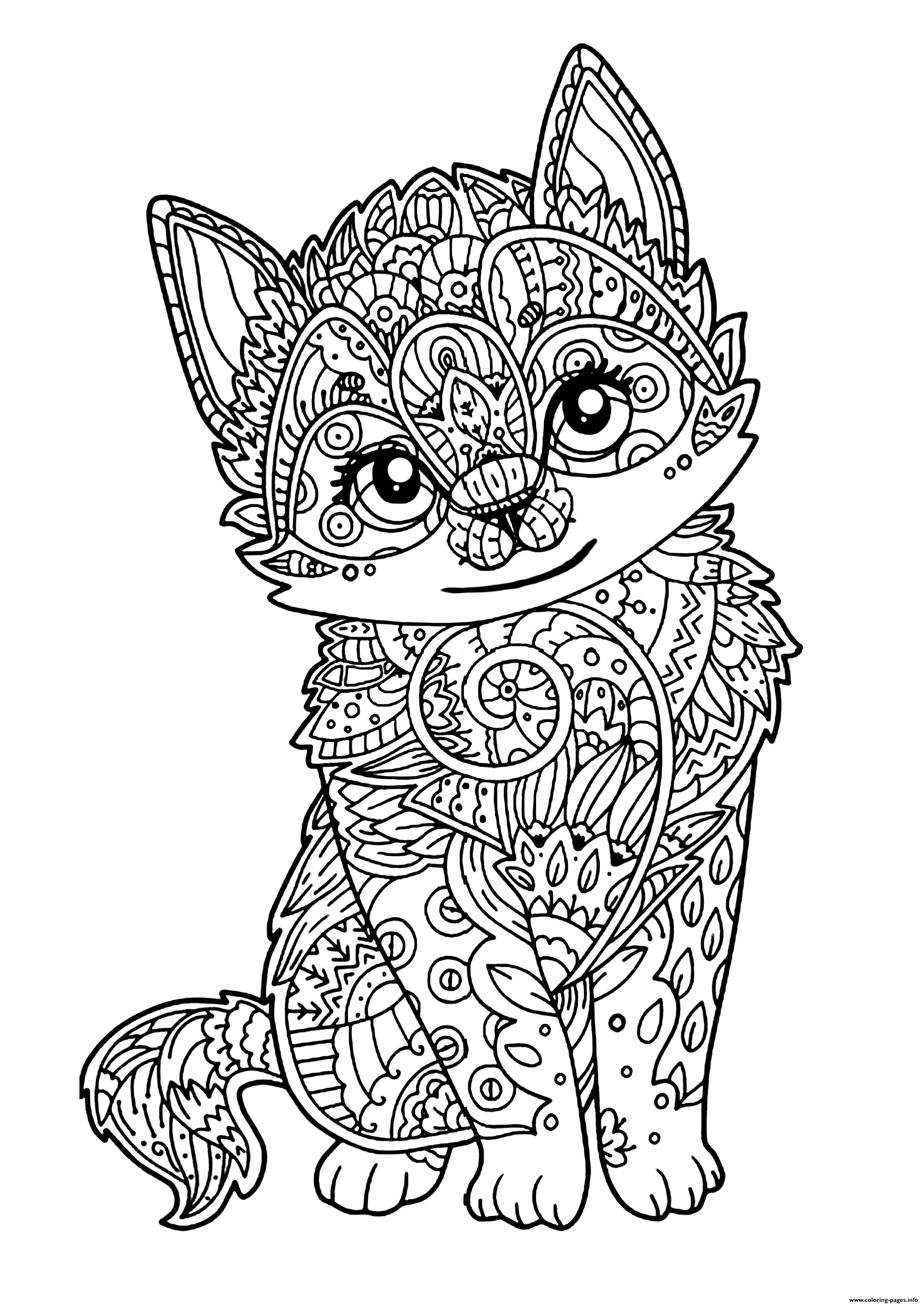 Cute Cat Adult Zentangle Coloring Pages Printable
