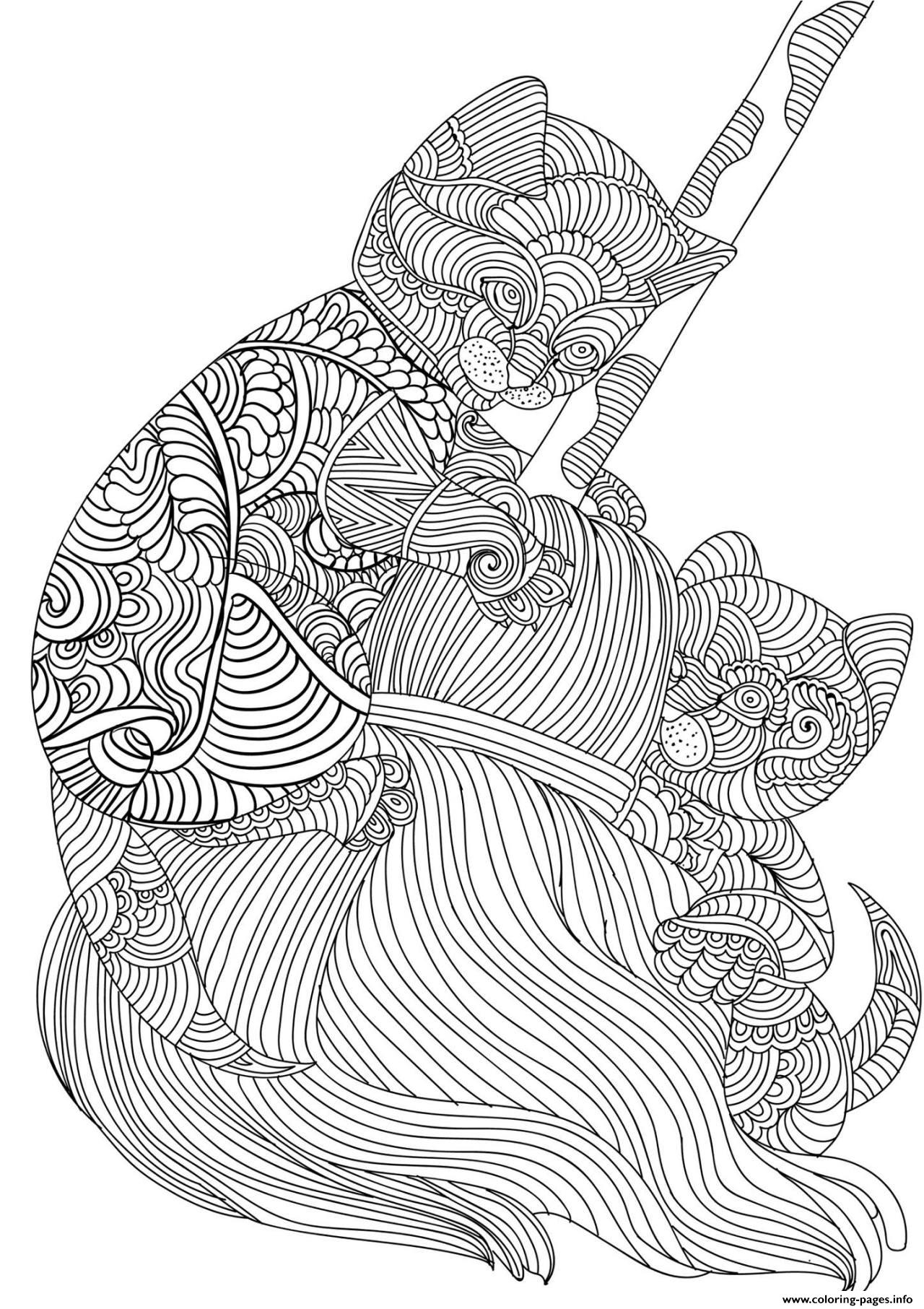 Cat Baby Adult Animal Zen Coloring Pages Printable