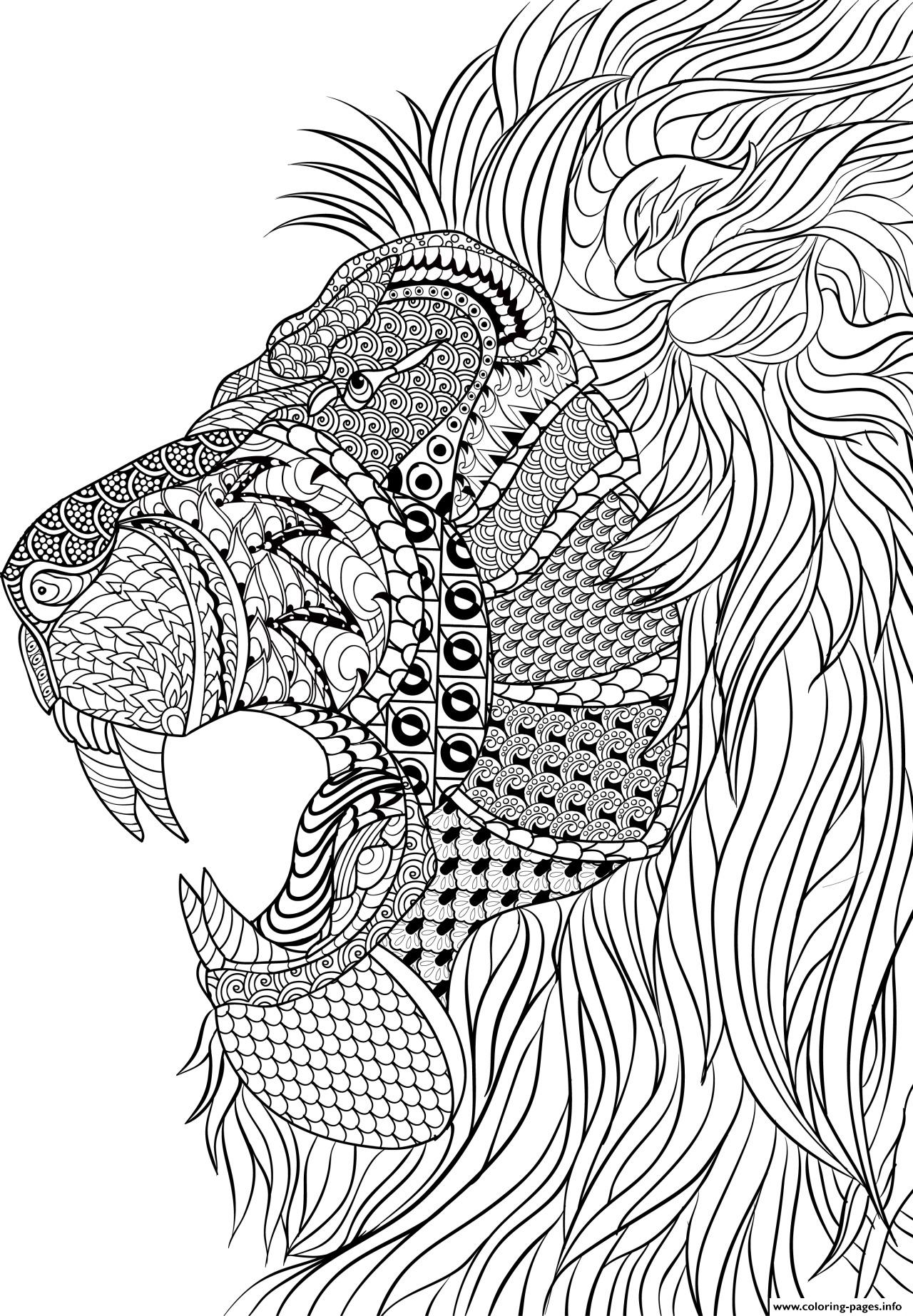 Lion Adult Anti Stress Coloring Pages