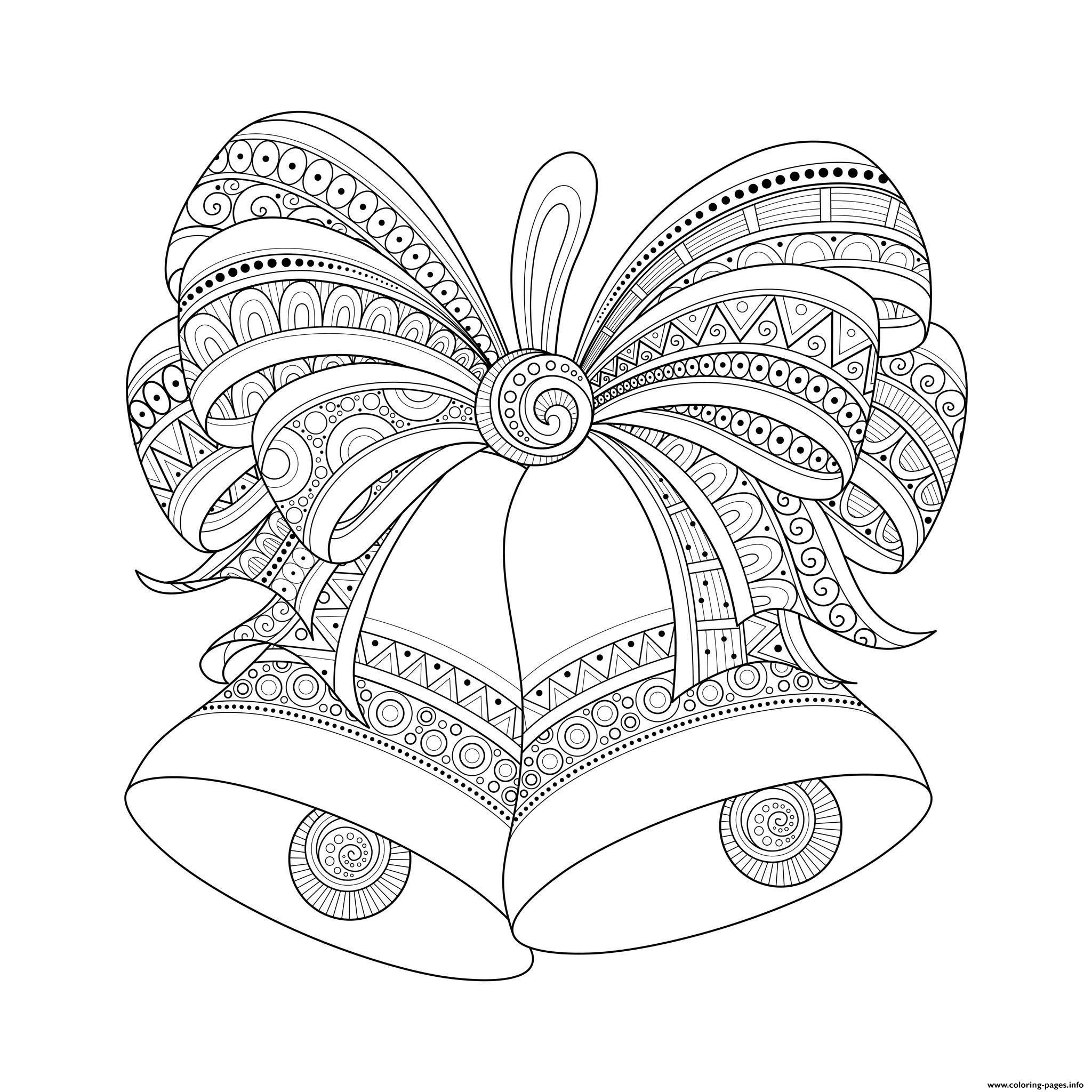 Adult Christmas Bells Zentangle Coloring Pages Printable