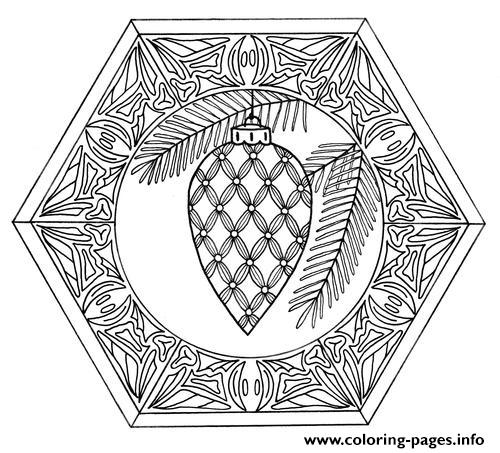 Christmas Bauble Mandala Adult coloring pages