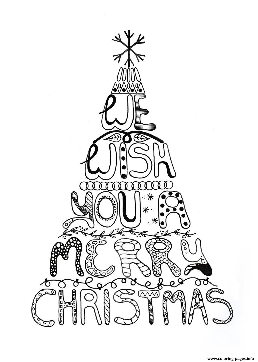 graphic regarding Merry Christmas Printable identified as Merry Xmas Grownup Tree Coloring Internet pages Printable