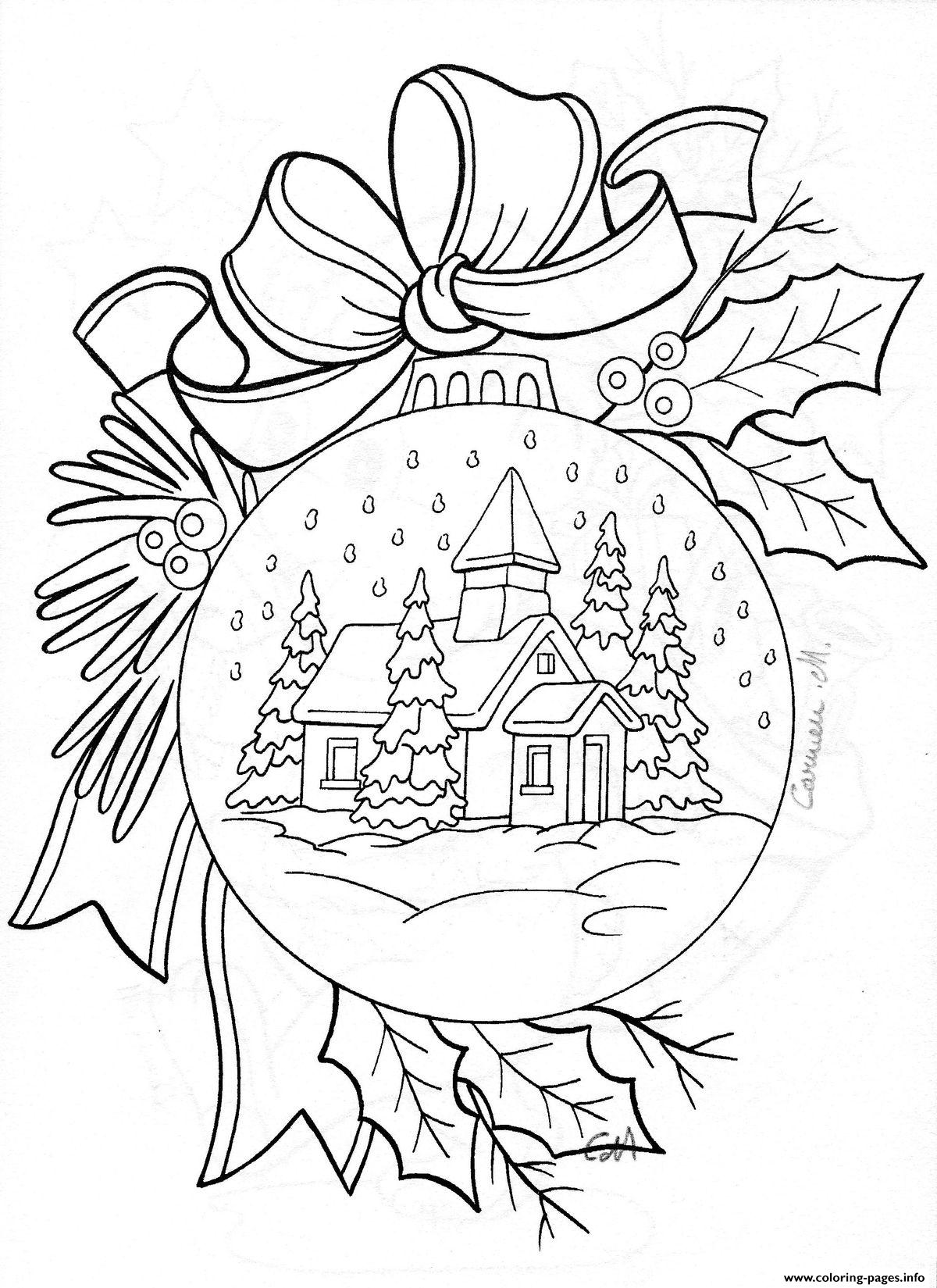 christmas house snow adult coloring pages