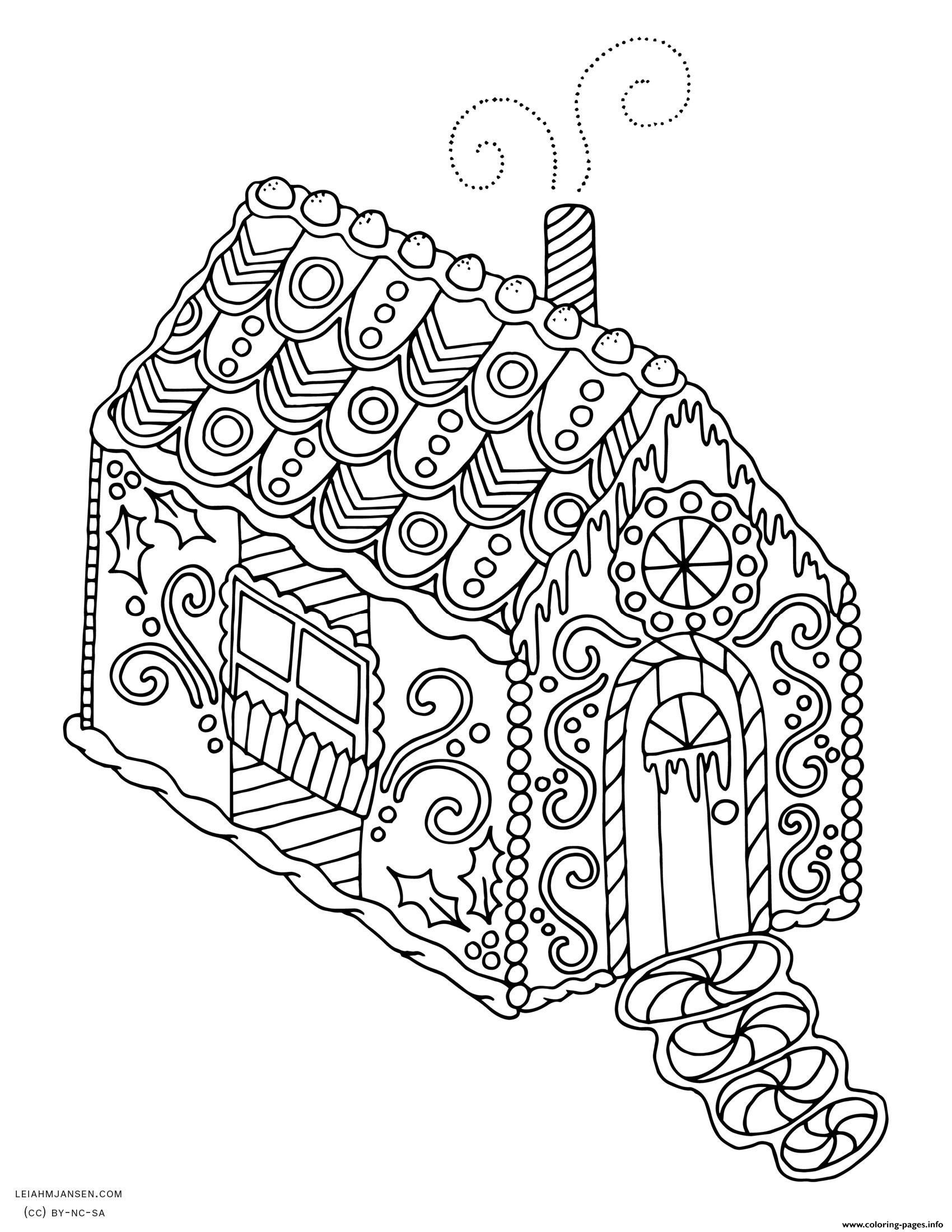 gingerbread house christmas adult coloring pages printable. Black Bedroom Furniture Sets. Home Design Ideas