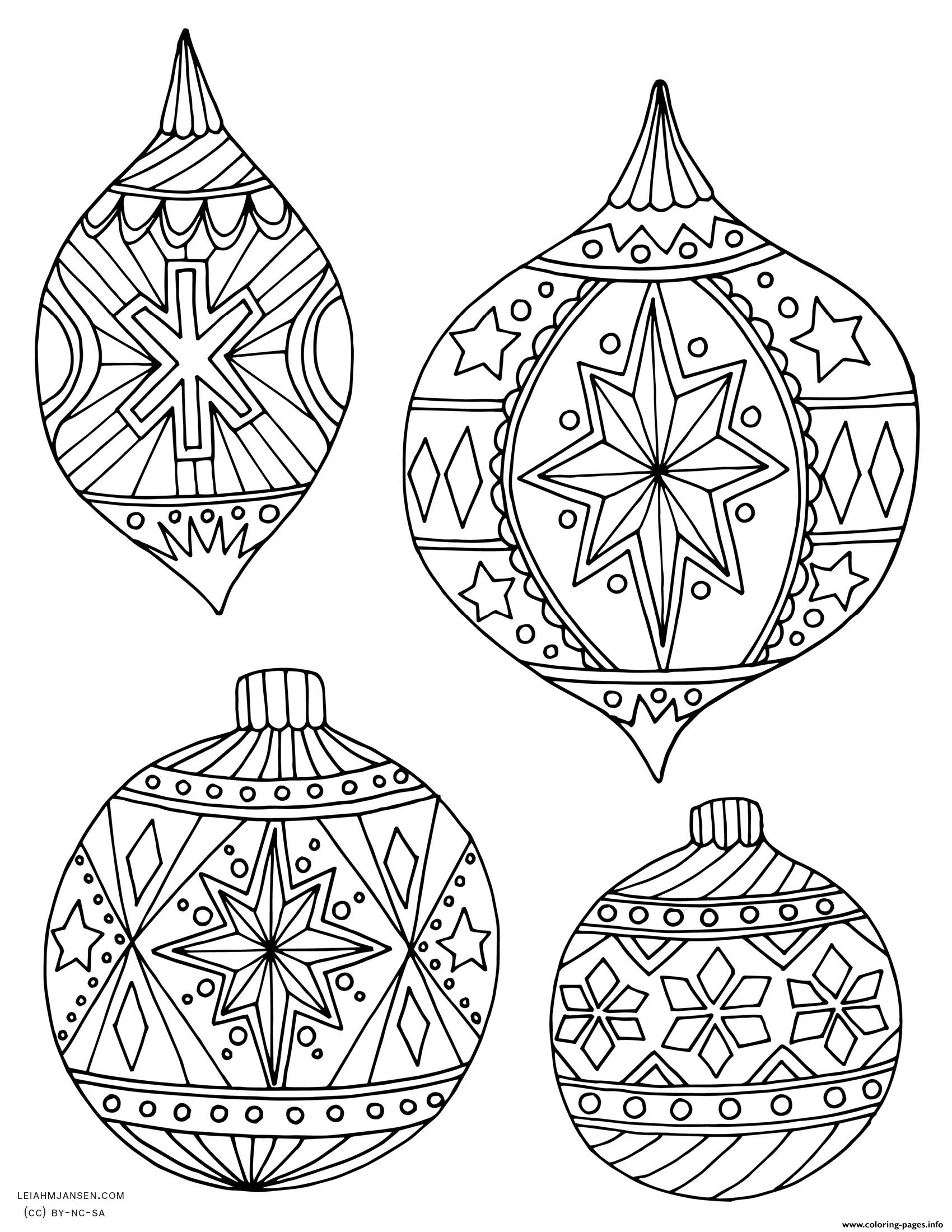 Adult christmas holiday ornaments coloring pages printable for Adult christmas coloring pages