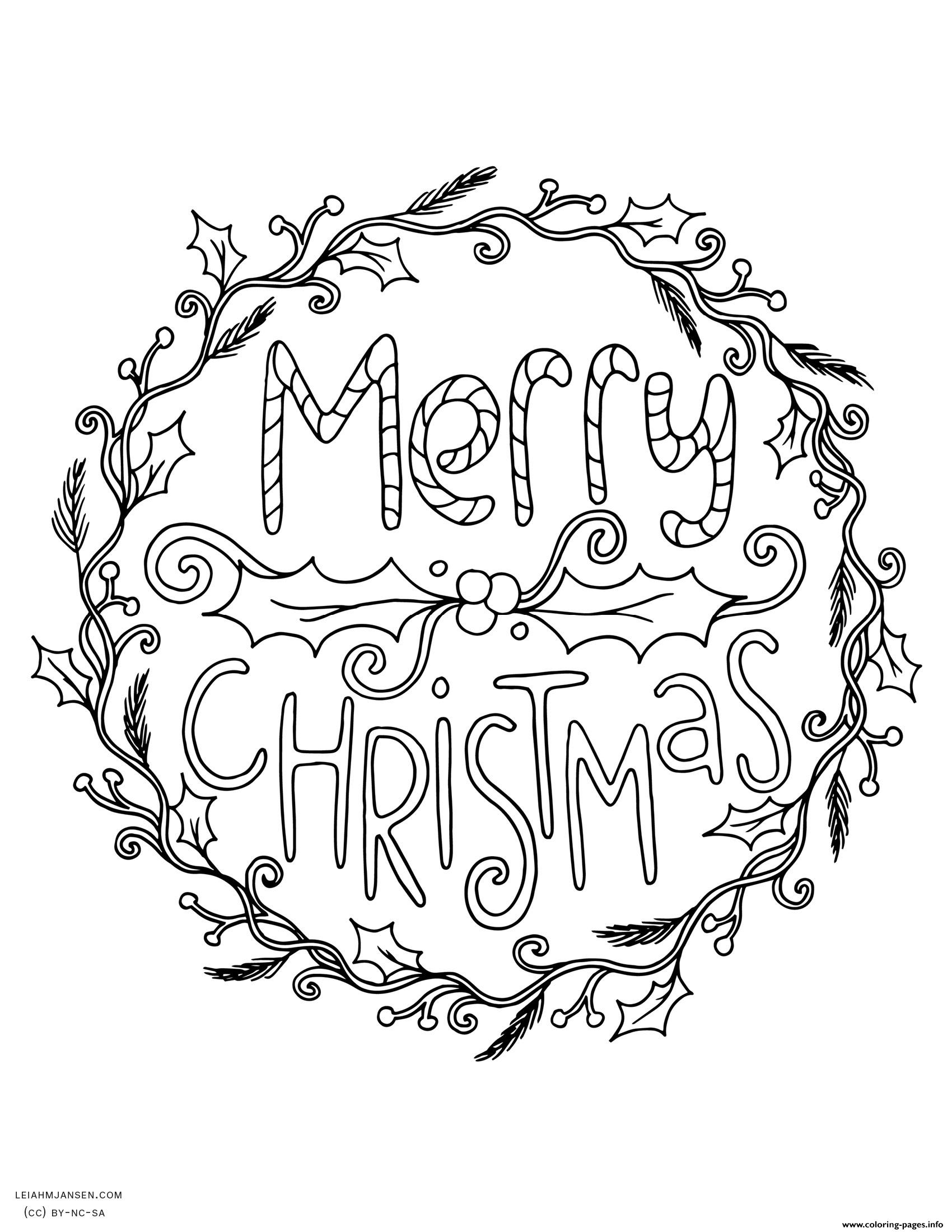 Merry Christmas Wreath Adult Coloring Pages Printable Merry Coloring Pages