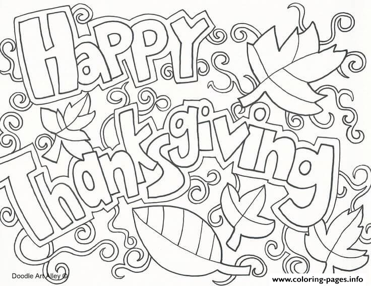 Happy Thanksgiving Adult Doodle Art Coloring Pages Printable
