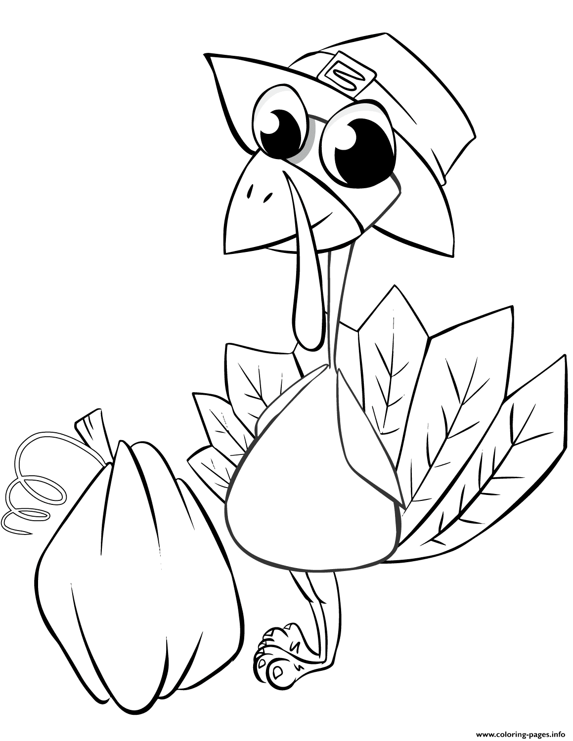 Thanksgiving Turkey With Pumpkin Coloring Pages Printable