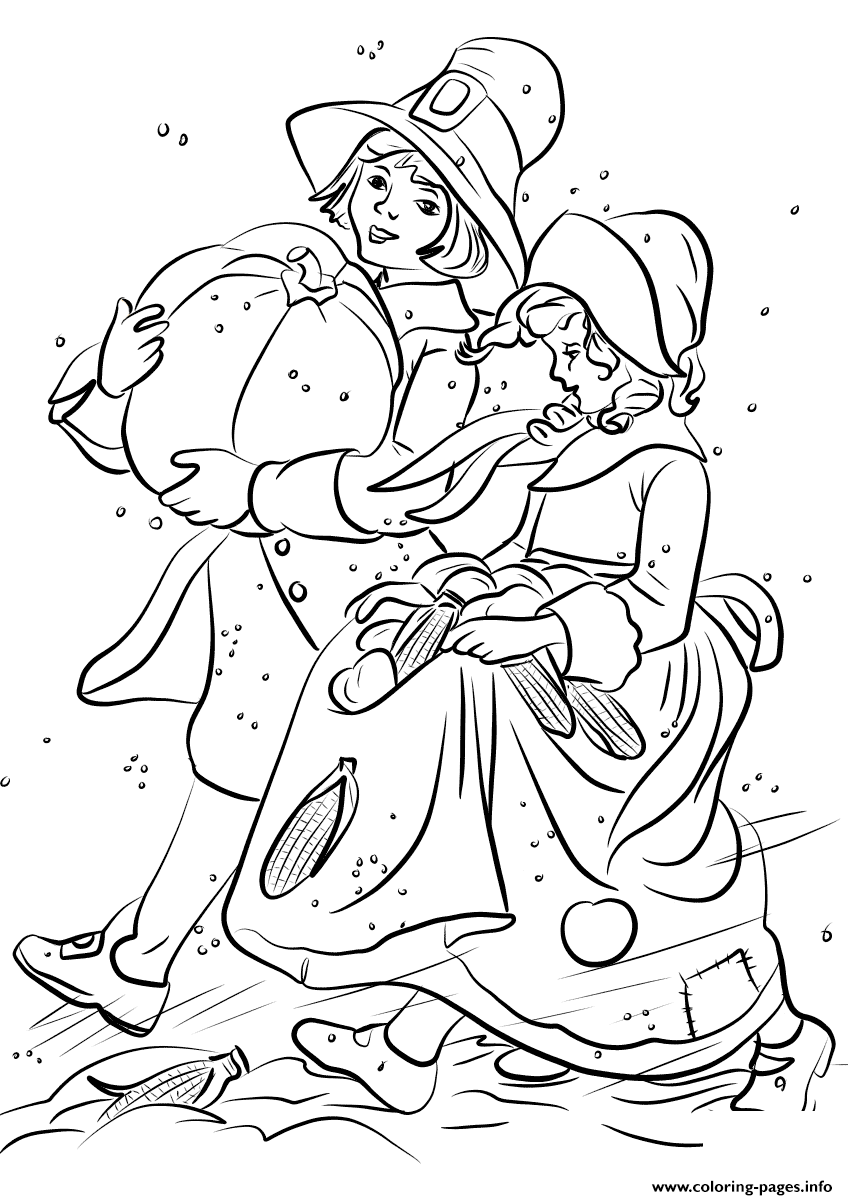 Pilgrim Boy And Girl Carrying Pumpkin And Corns Thanksgiving Coloring Pages Printable