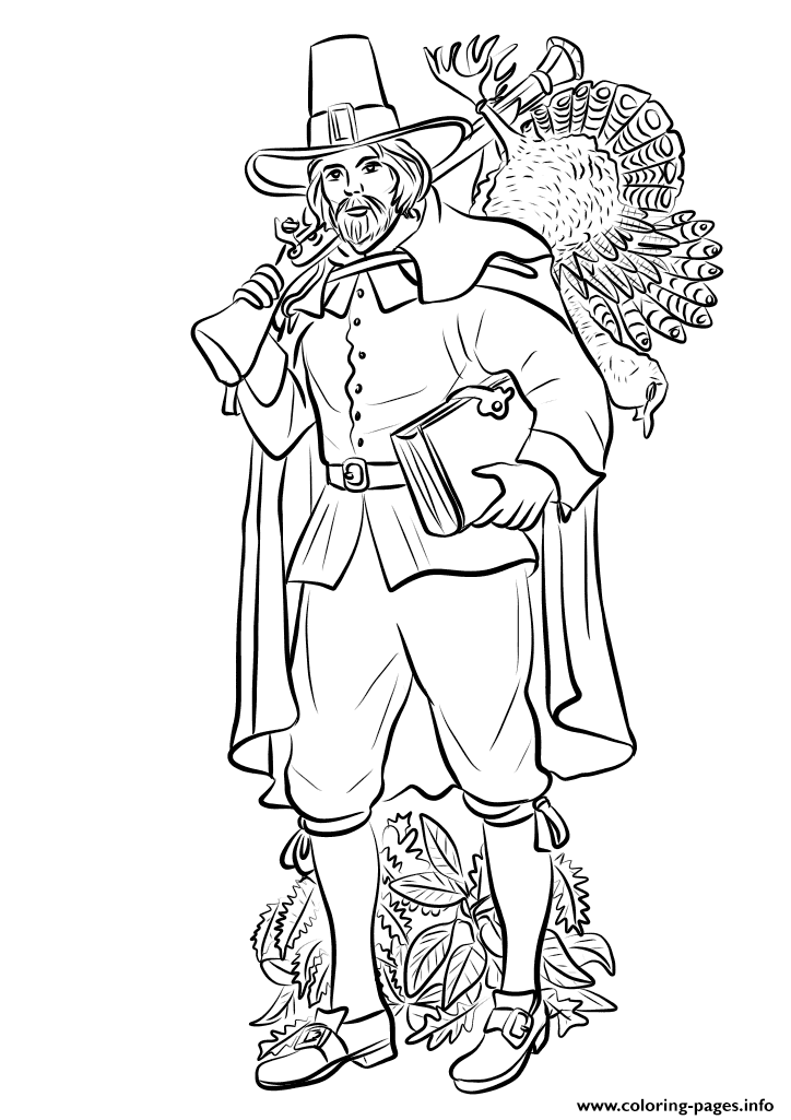 Pilgrim With Musket And Turkey Thanksgiving Coloring Pages