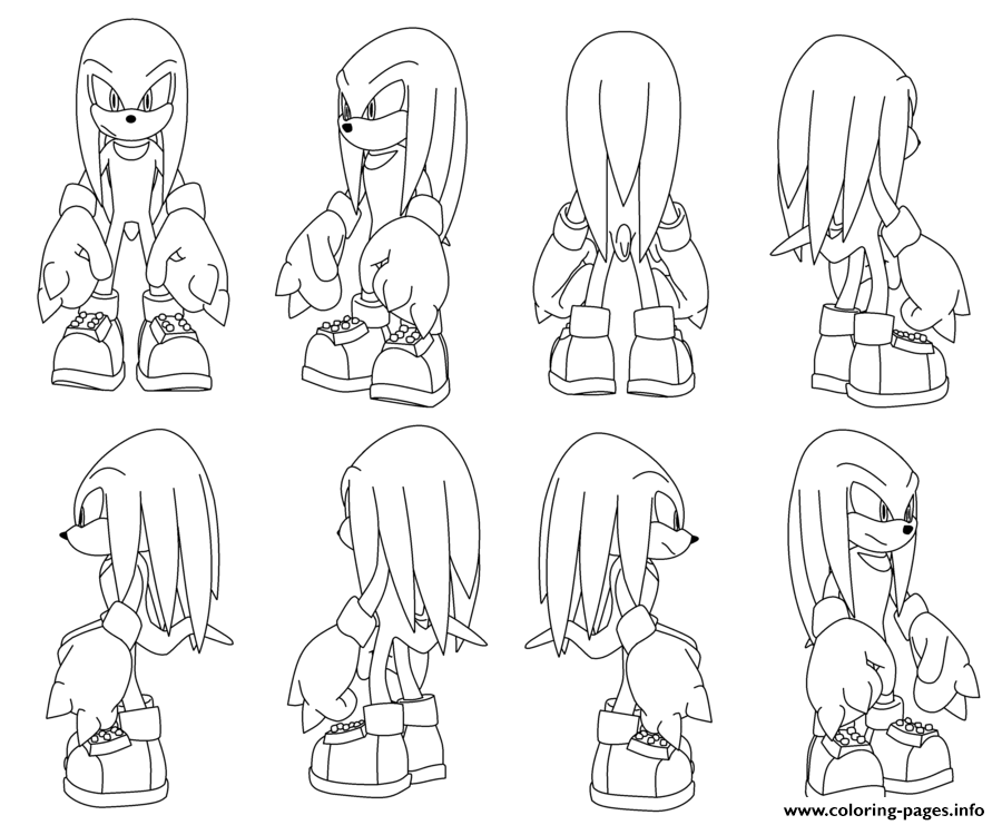 Knuckles The Echidna Turning By Darkhedgehog23 Coloring Pages Printable