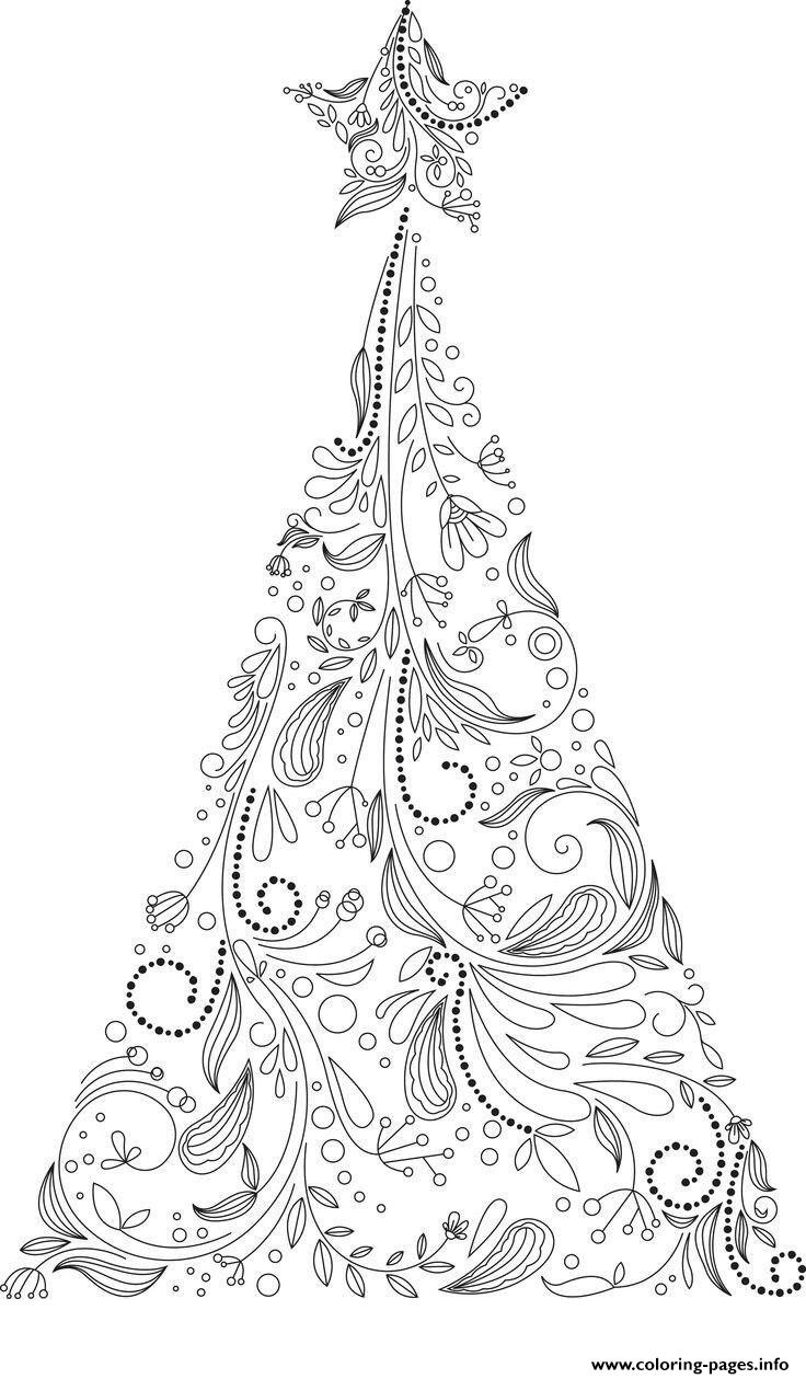 Christmas Adult Tree Coloring Pages Printable