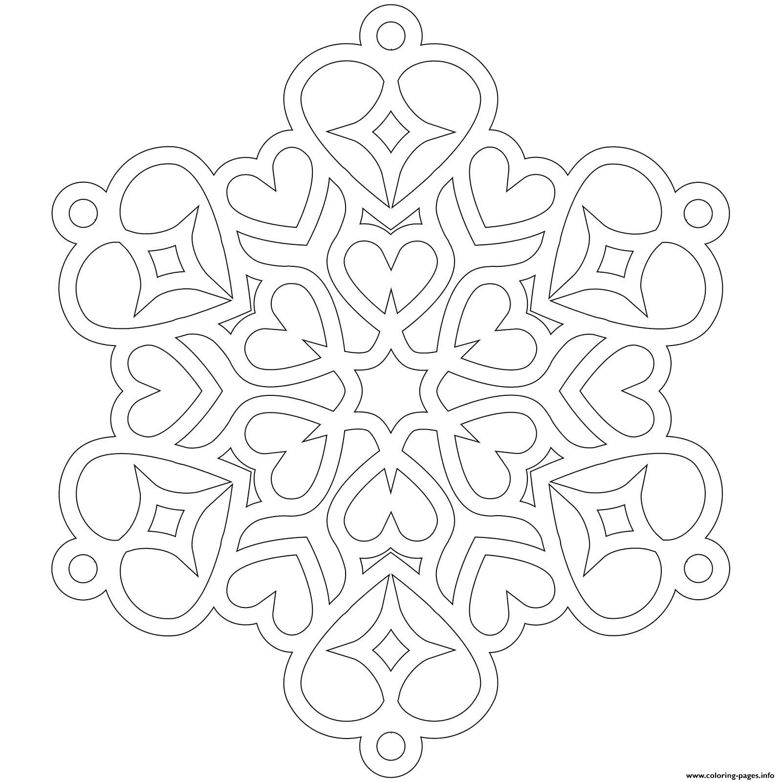 Snowflake Hearts Mandala Coloring