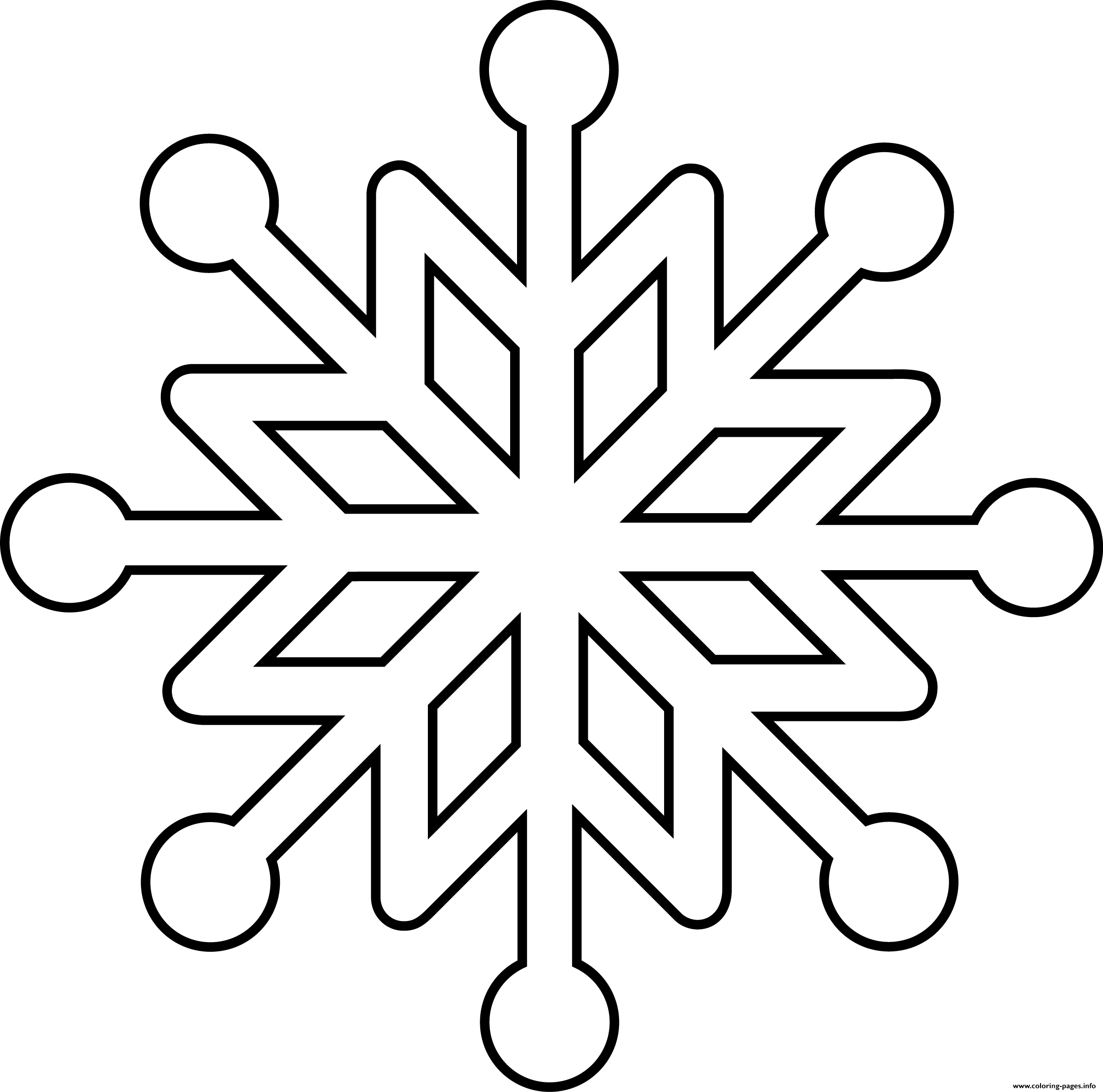 Clean Snowflake Coloring Pages Printable