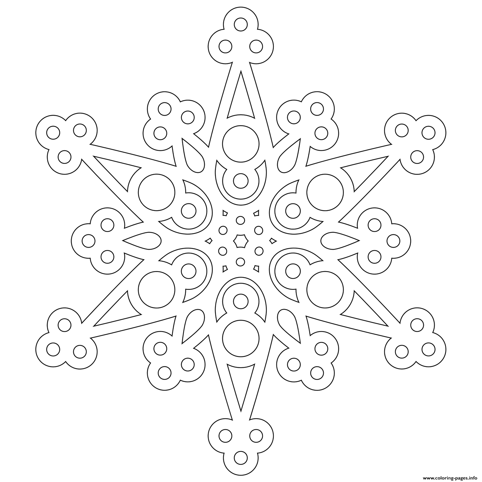 Modern Snowflake Mandala Adult Coloring Pages Printable
