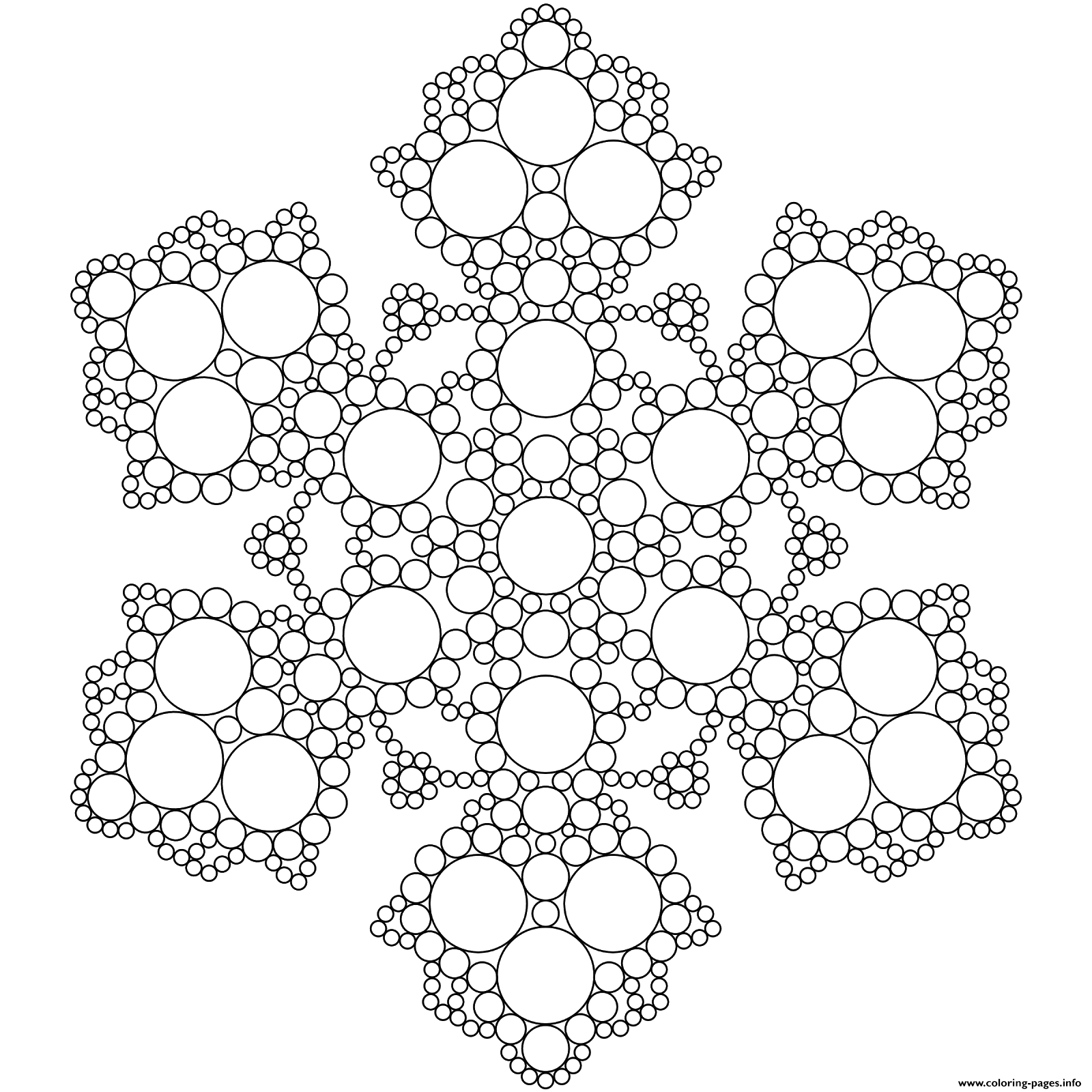 snowflake mandala circles coloring pages printable