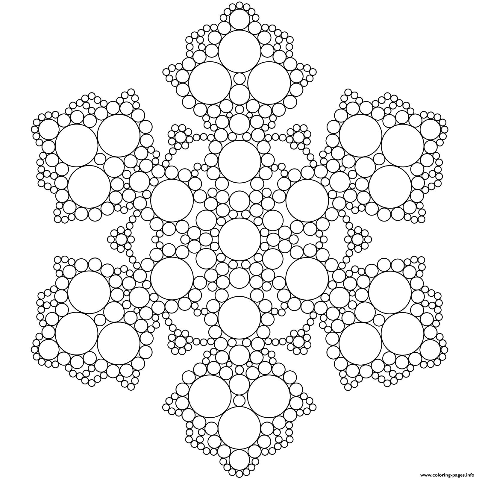 - Snowflake Mandala Circles Coloring Pages Printable