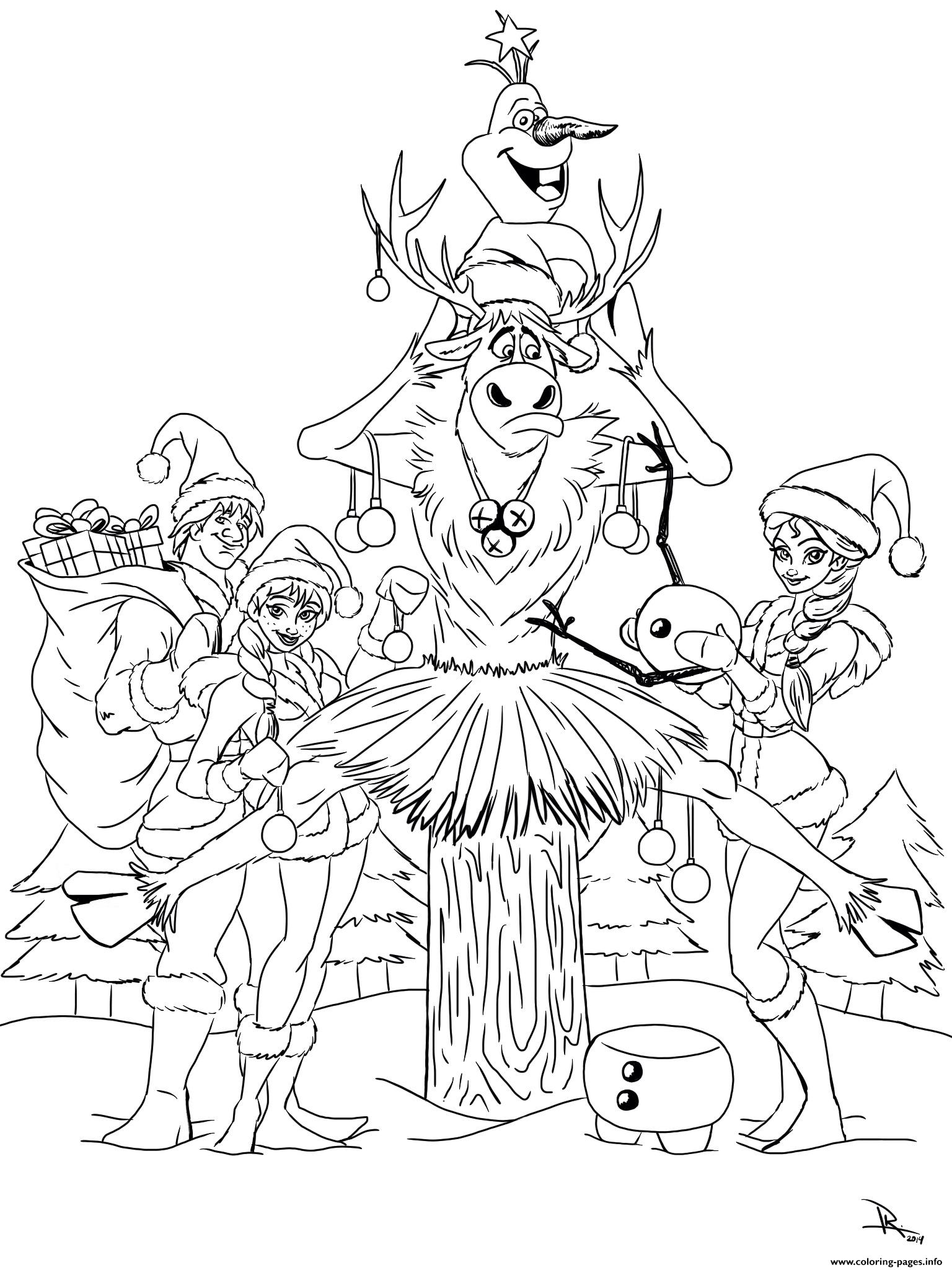 Frozen Christmas All Characters Coloring Pages Printable Inside Out