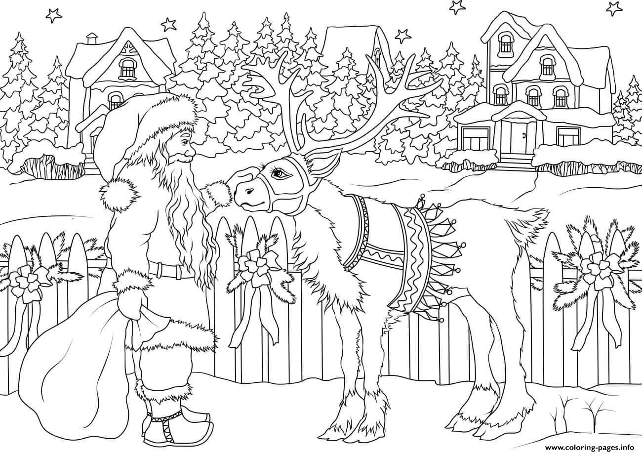 vintage santa claus with his christmas deer christmas coloring pages