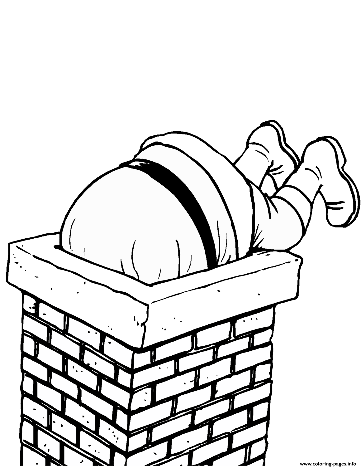 santa diving into a chimney christmas coloring pages