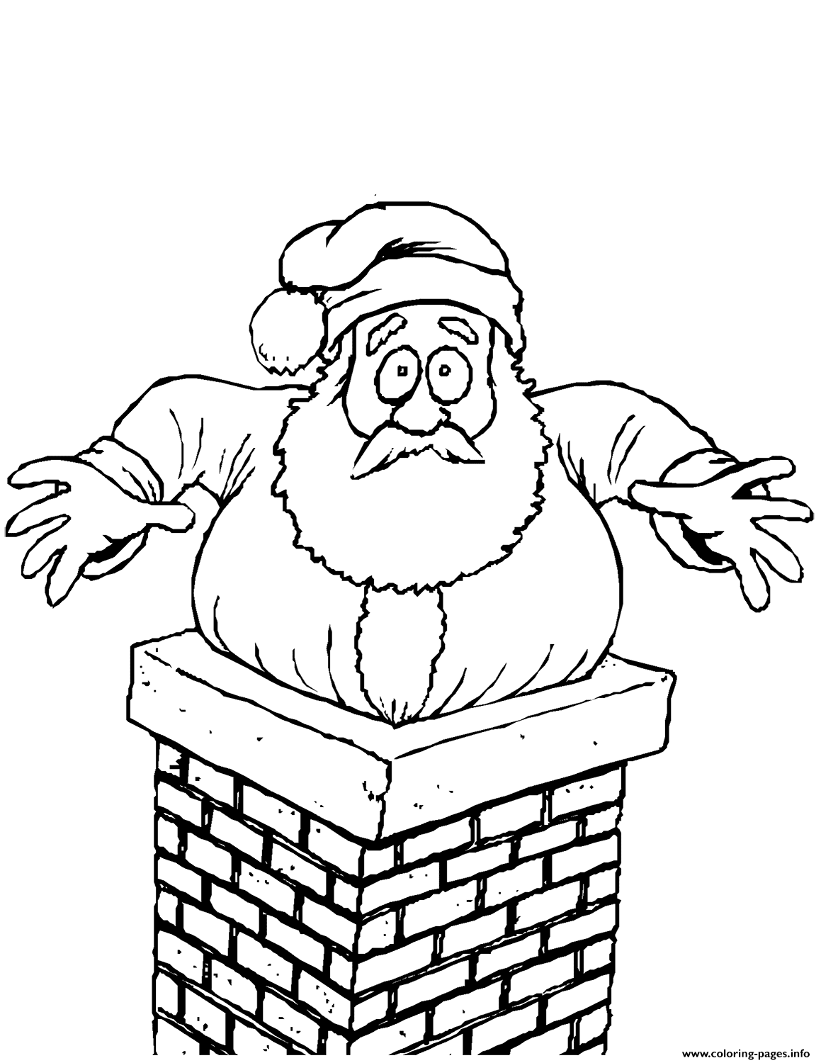 Santa Stuck In The Chimney Christmas Coloring Pages Printable