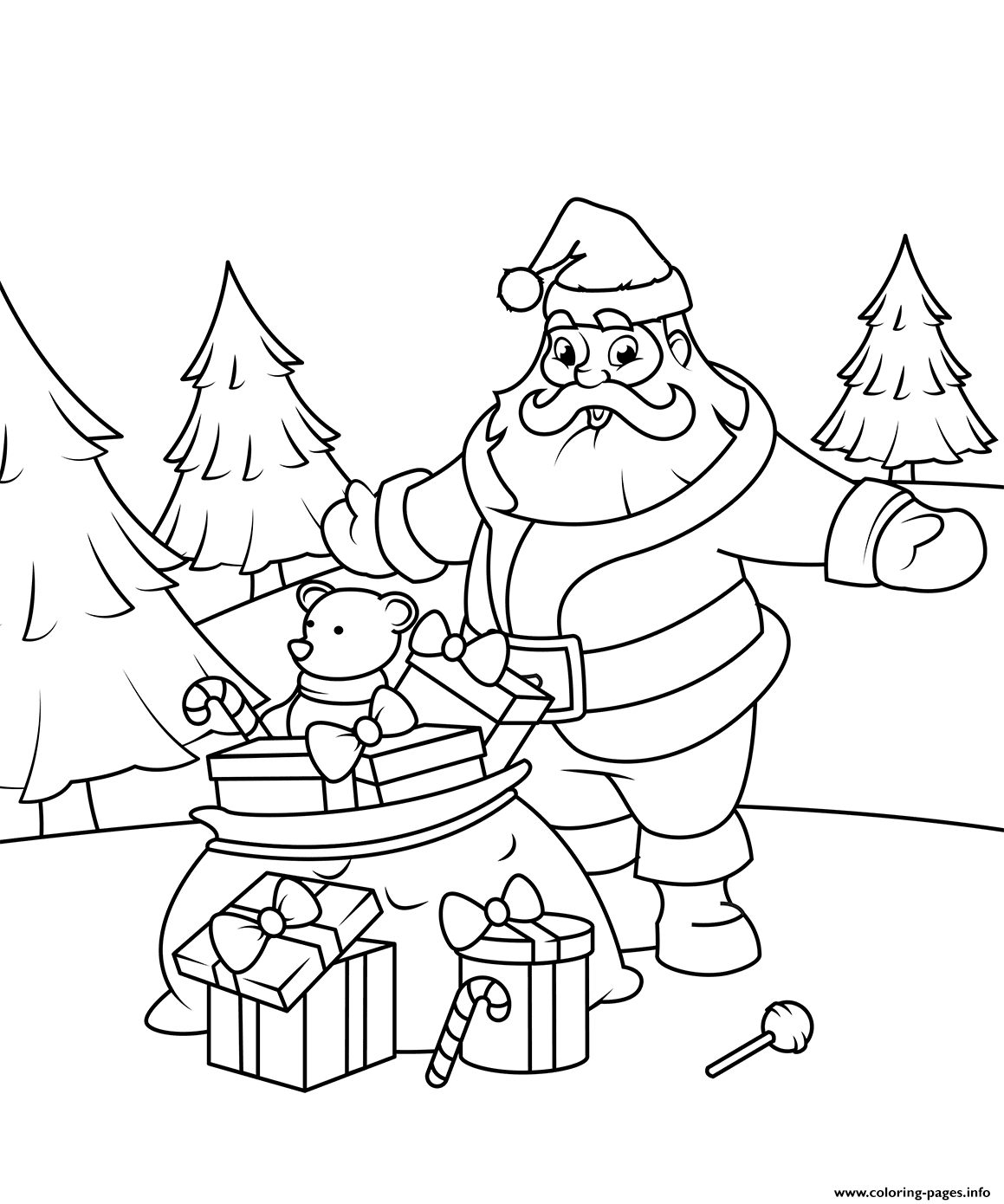 Pusheen Kleurplaat Kerst Santa Claus With Gifts Christmas Coloring Pages Printable