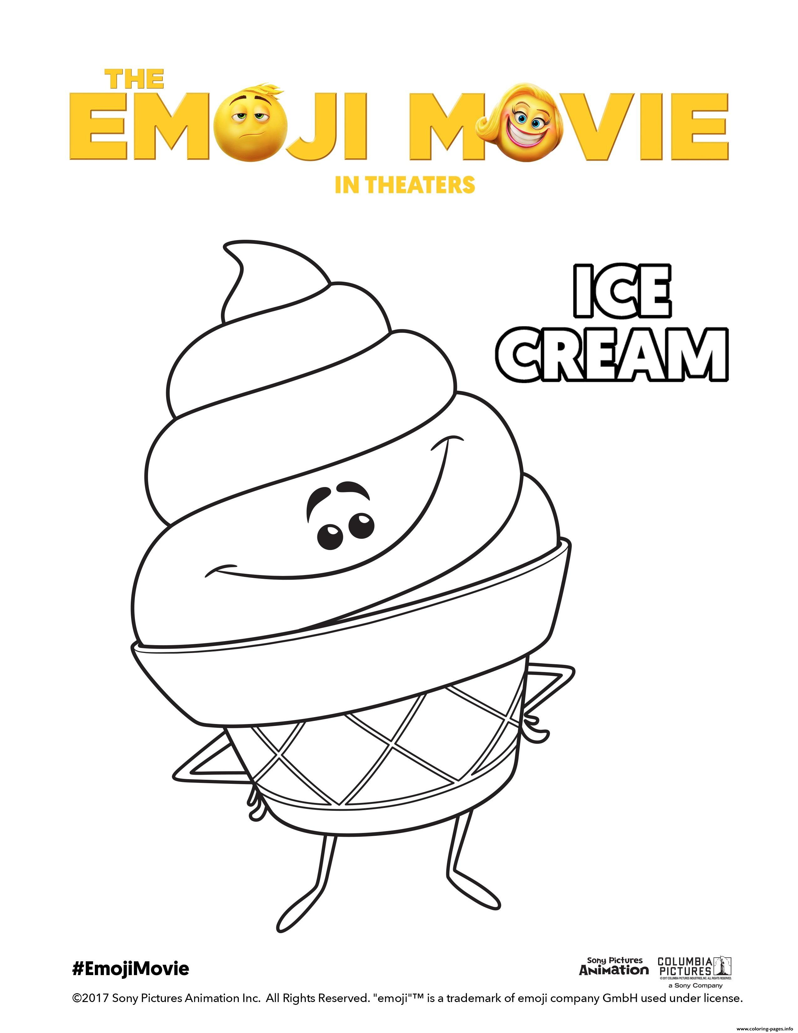 Ice Cream Emoji Movie Coloring Pages Printable