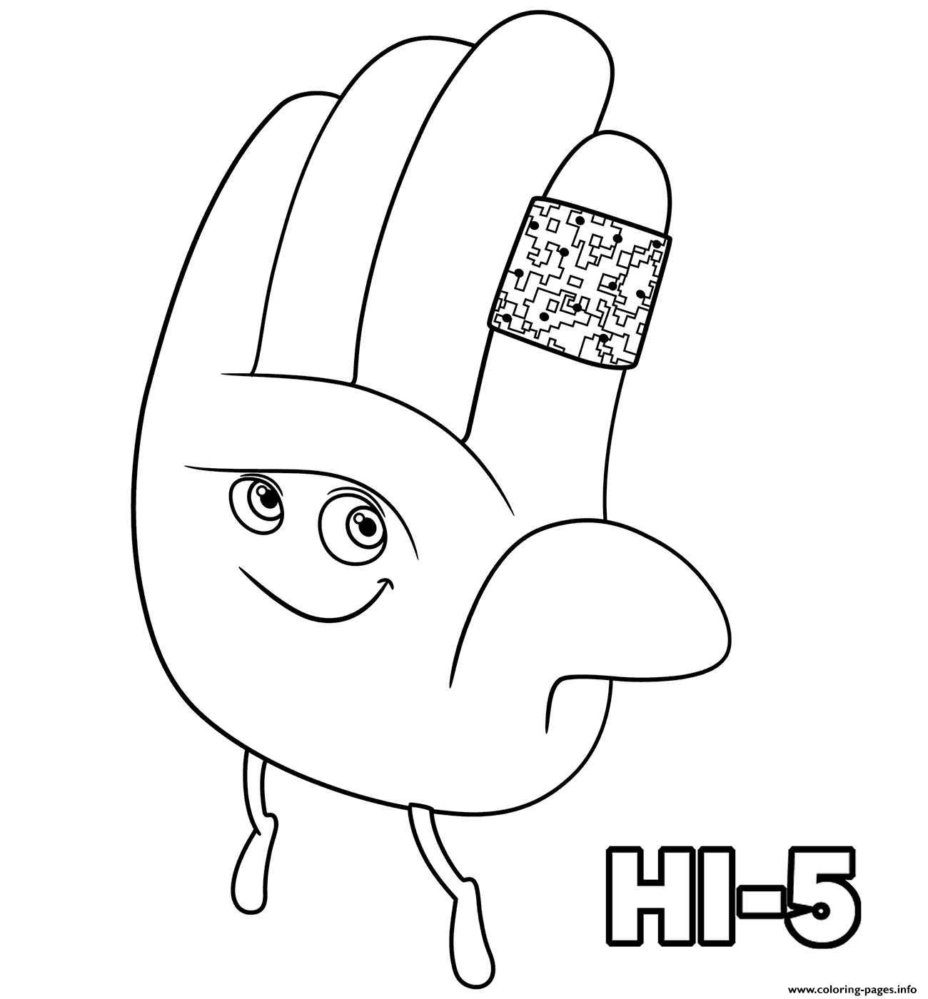 Hi Five The Emoji Movie Coloring Pages Printable