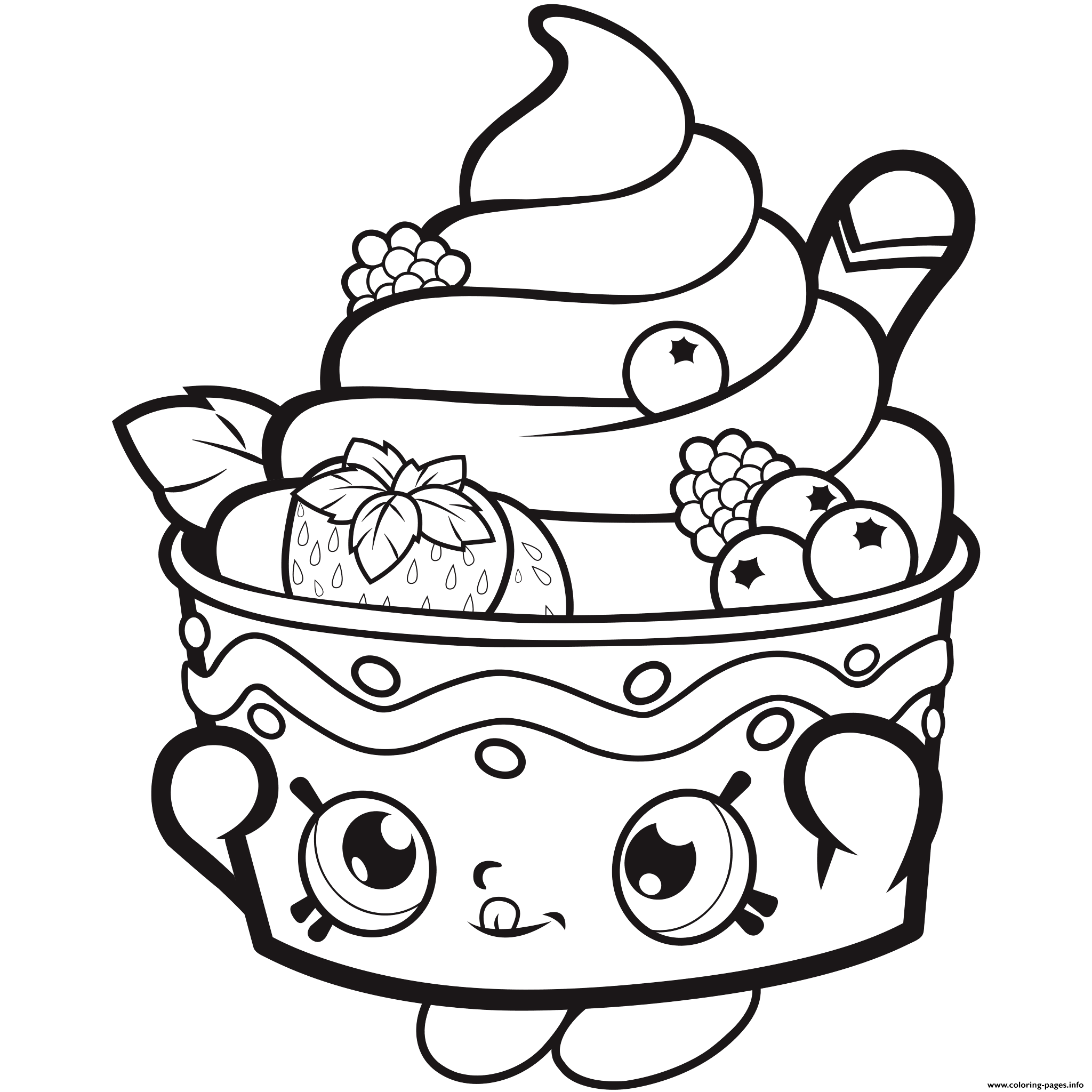 Shopkins coloring pages wishes - Shopkins Icecream Strawberry Coloring Pages