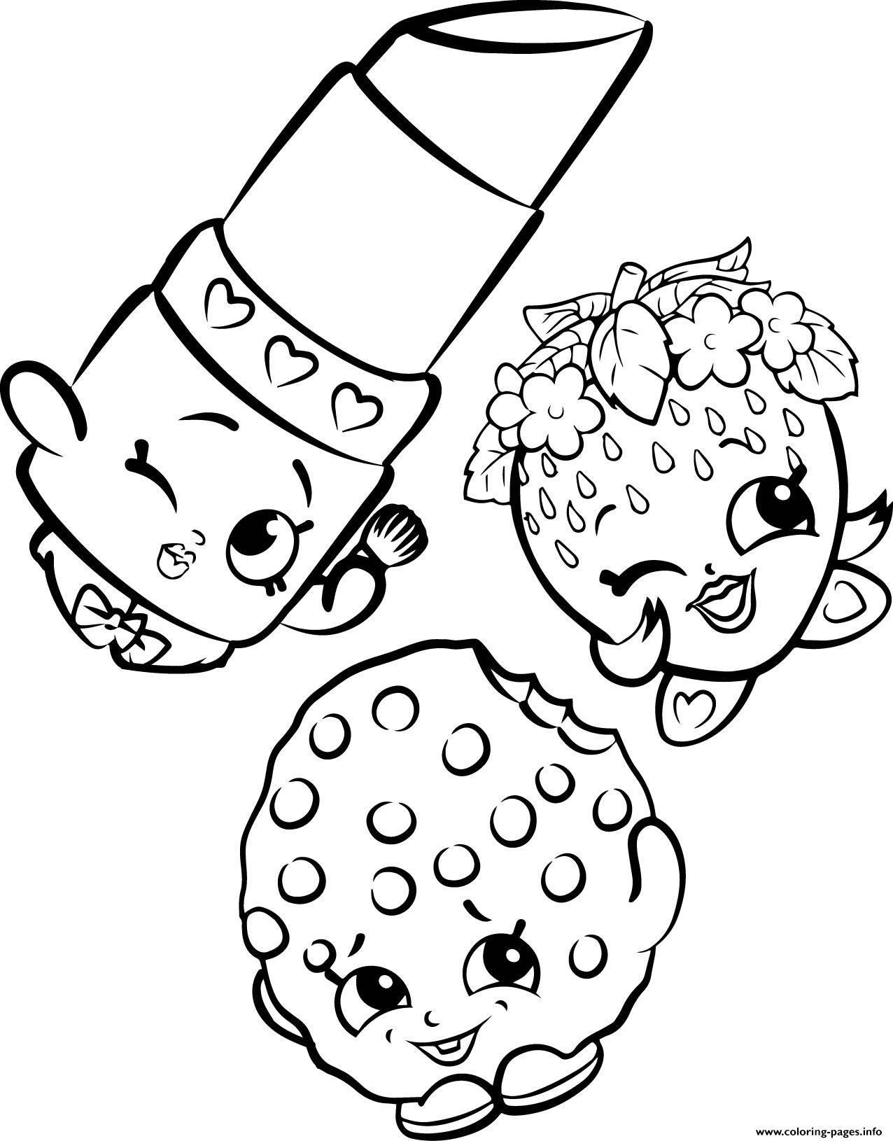 Free Shopkins Strawberry Lipstick Cookie Coloring Pages Printable