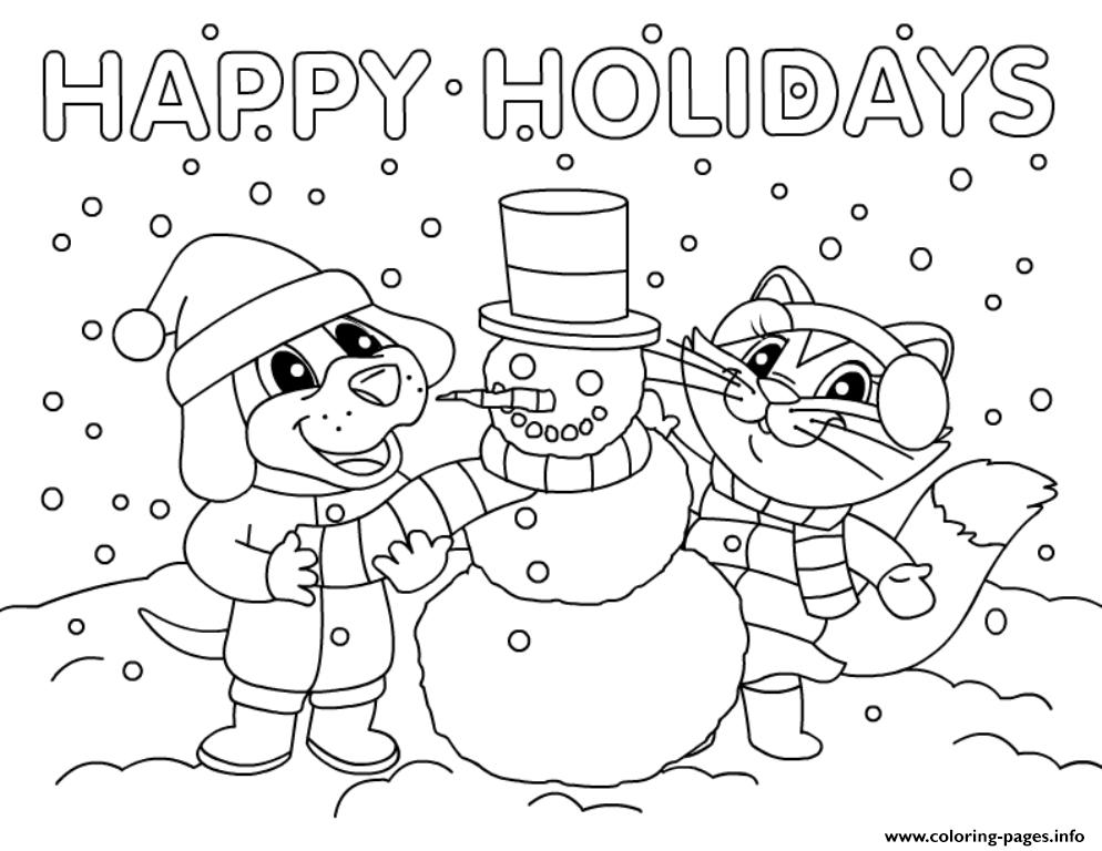 Christmas Snowman Happy Holidays Coloring Pages Printable