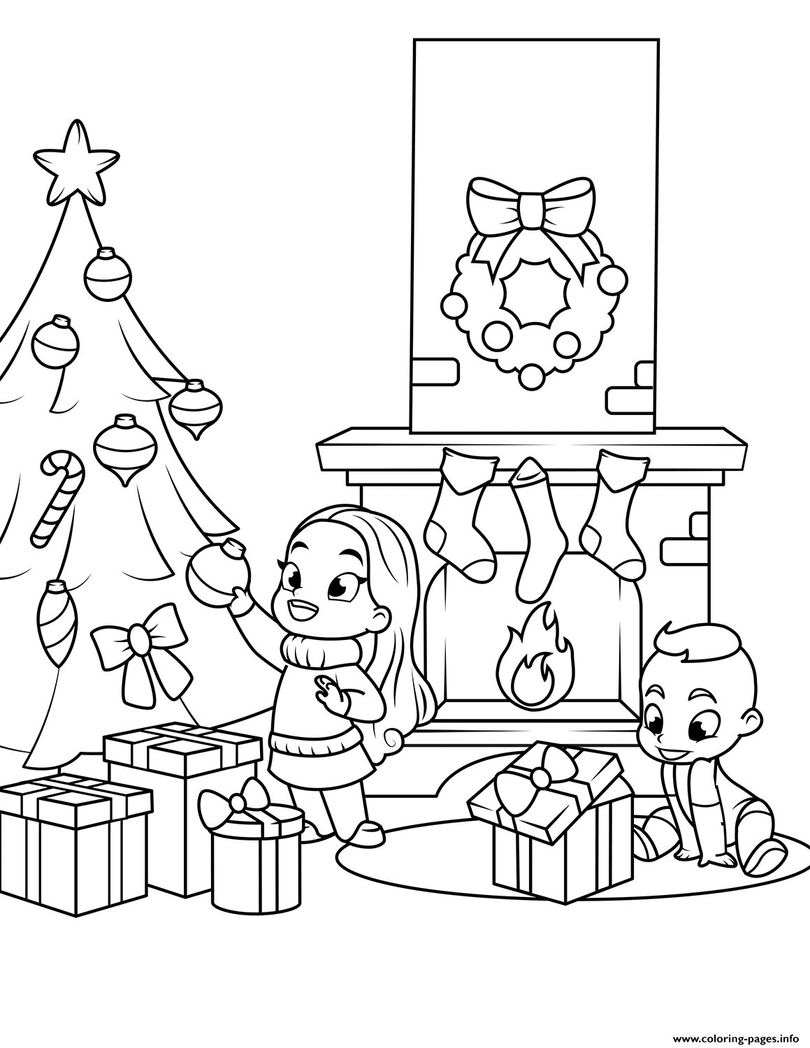 Kids Near The Fireplace And Christmas Tree Coloring Pages Printable