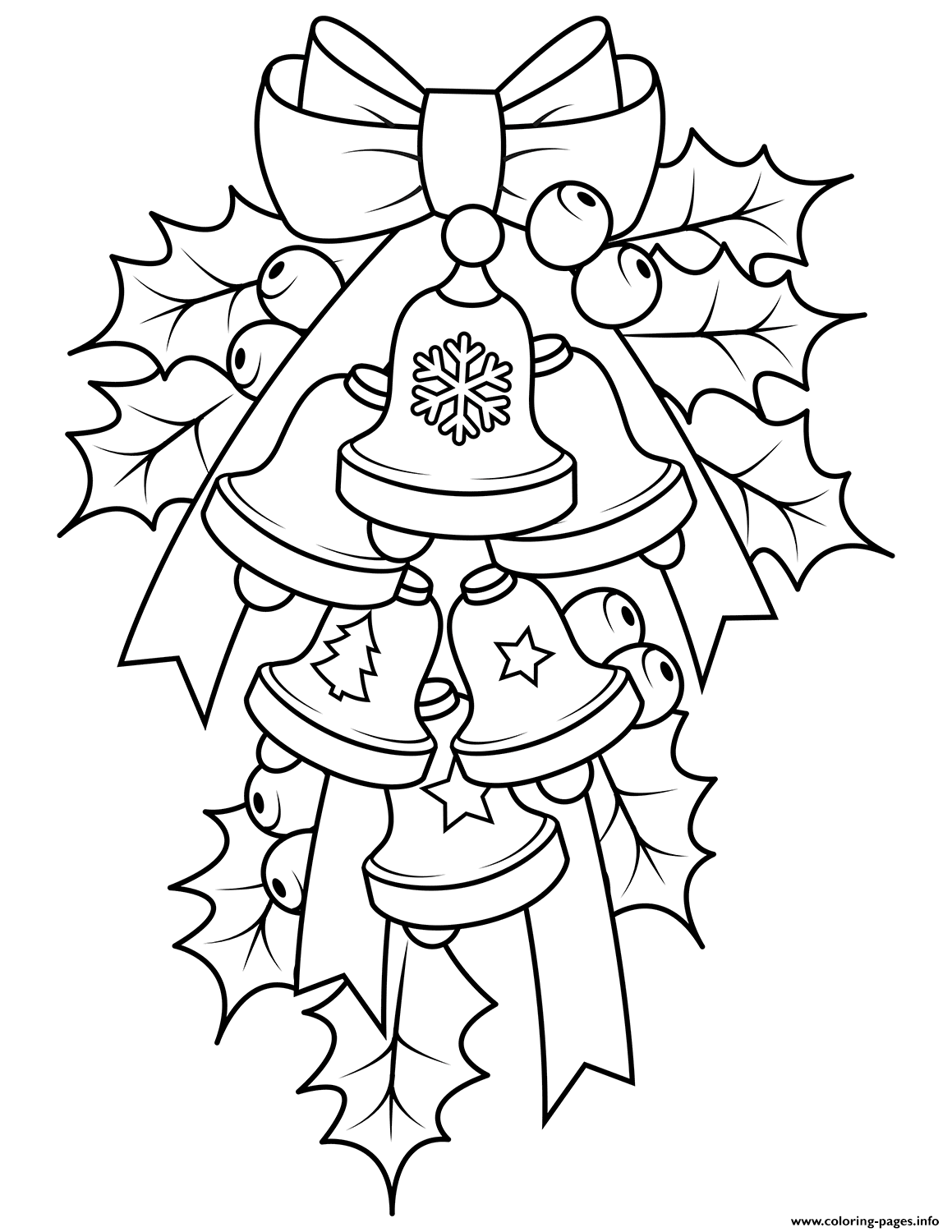 Christmas Bells And Holly Coloring Pages Printable