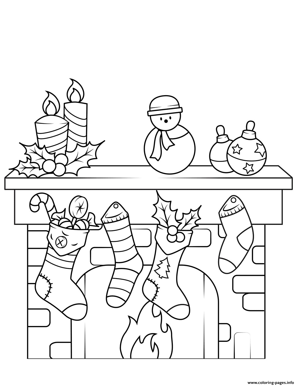 Christmas Fireplace coloring pages