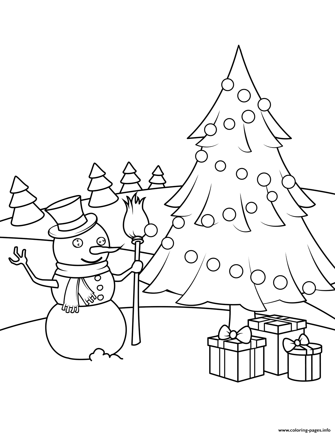 Snowman Christmas Tree And Presents Coloring Pages Printable